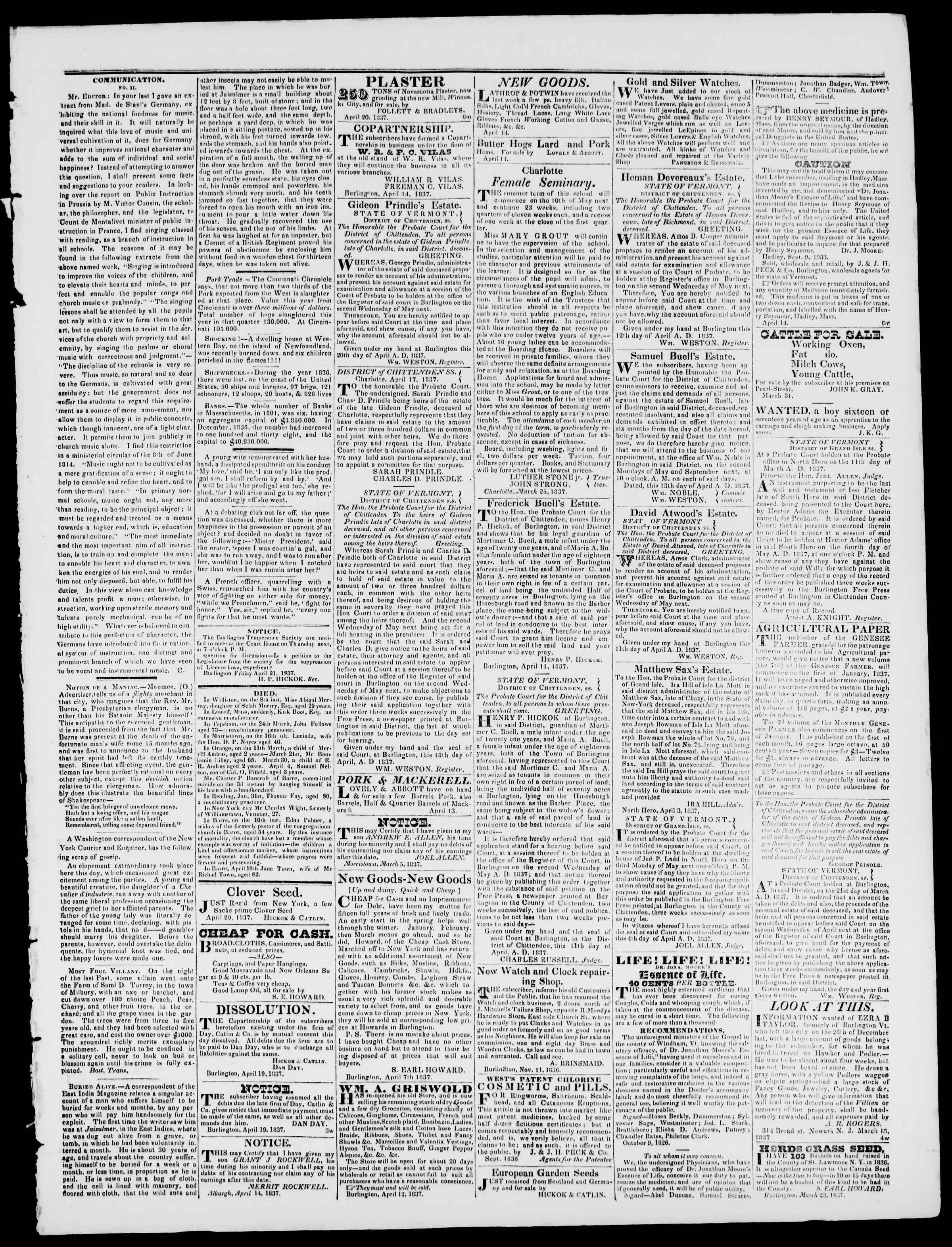 Newspaper of Burlington Free Press dated April 21, 1837 Page 3