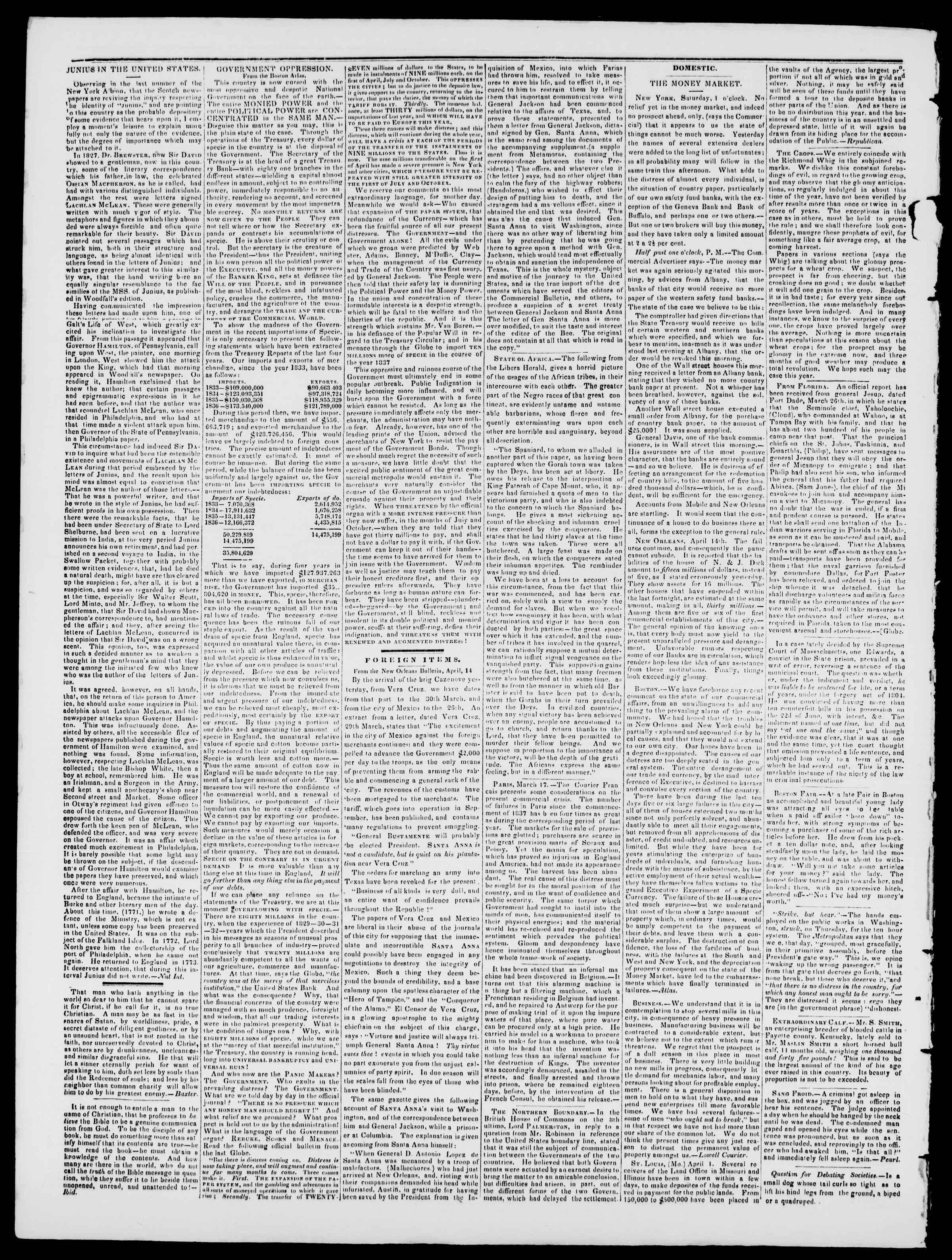 Newspaper of Burlington Free Press dated April 28, 1837 Page 2