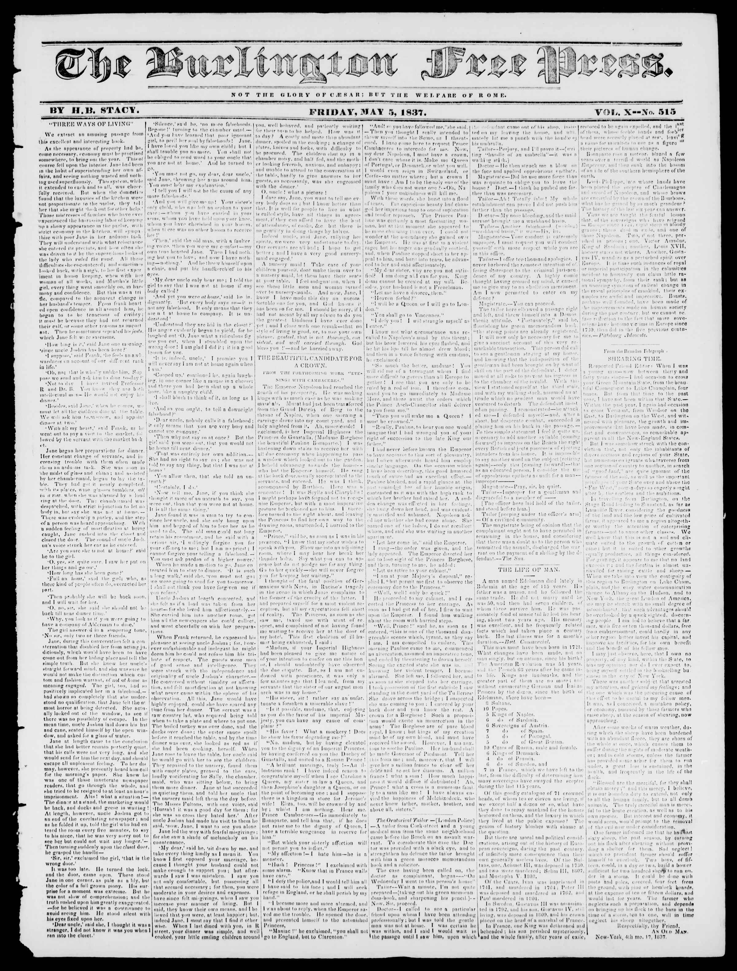 Newspaper of Burlington Free Press dated May 5, 1837 Page 1