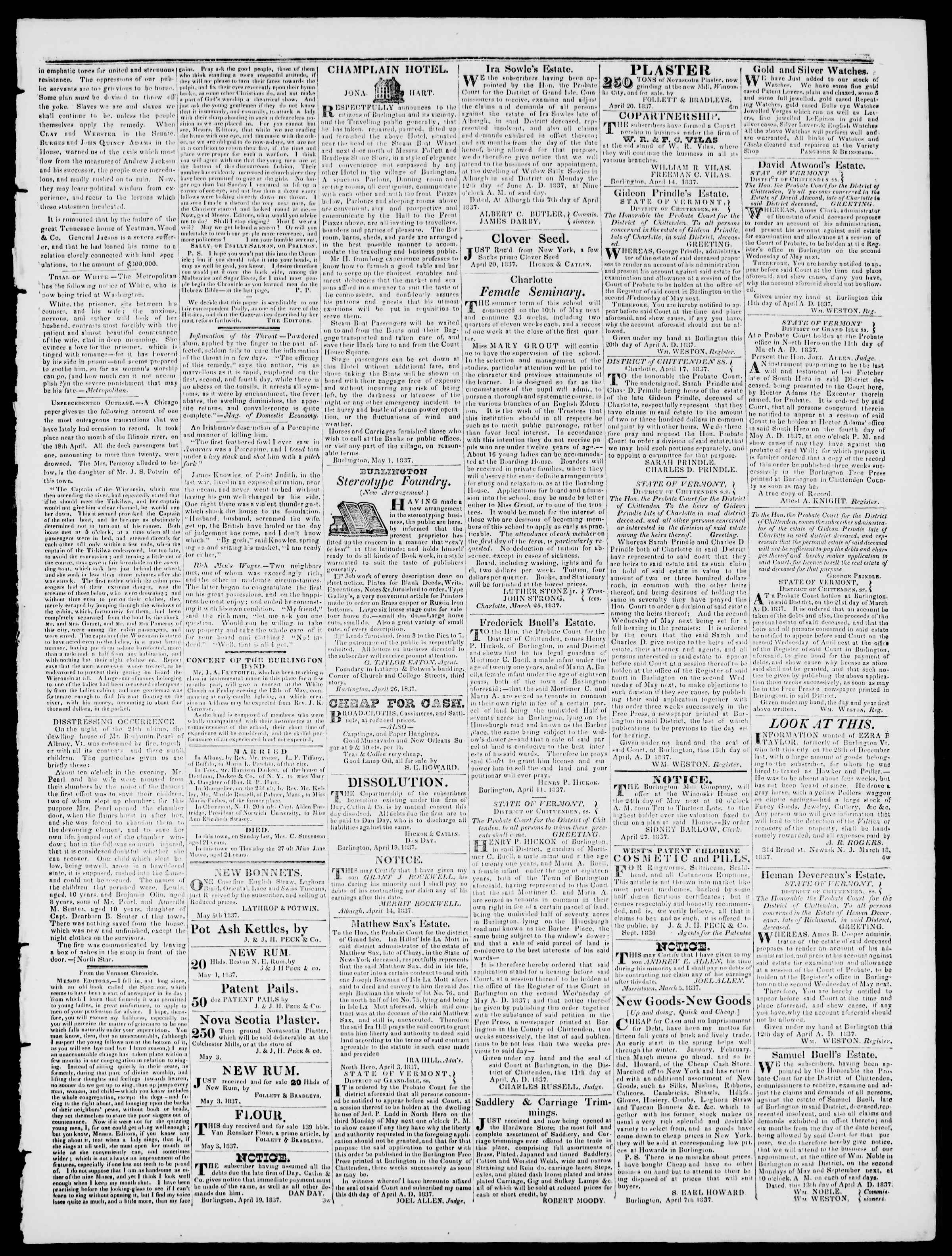 Newspaper of Burlington Free Press dated May 5, 1837 Page 3