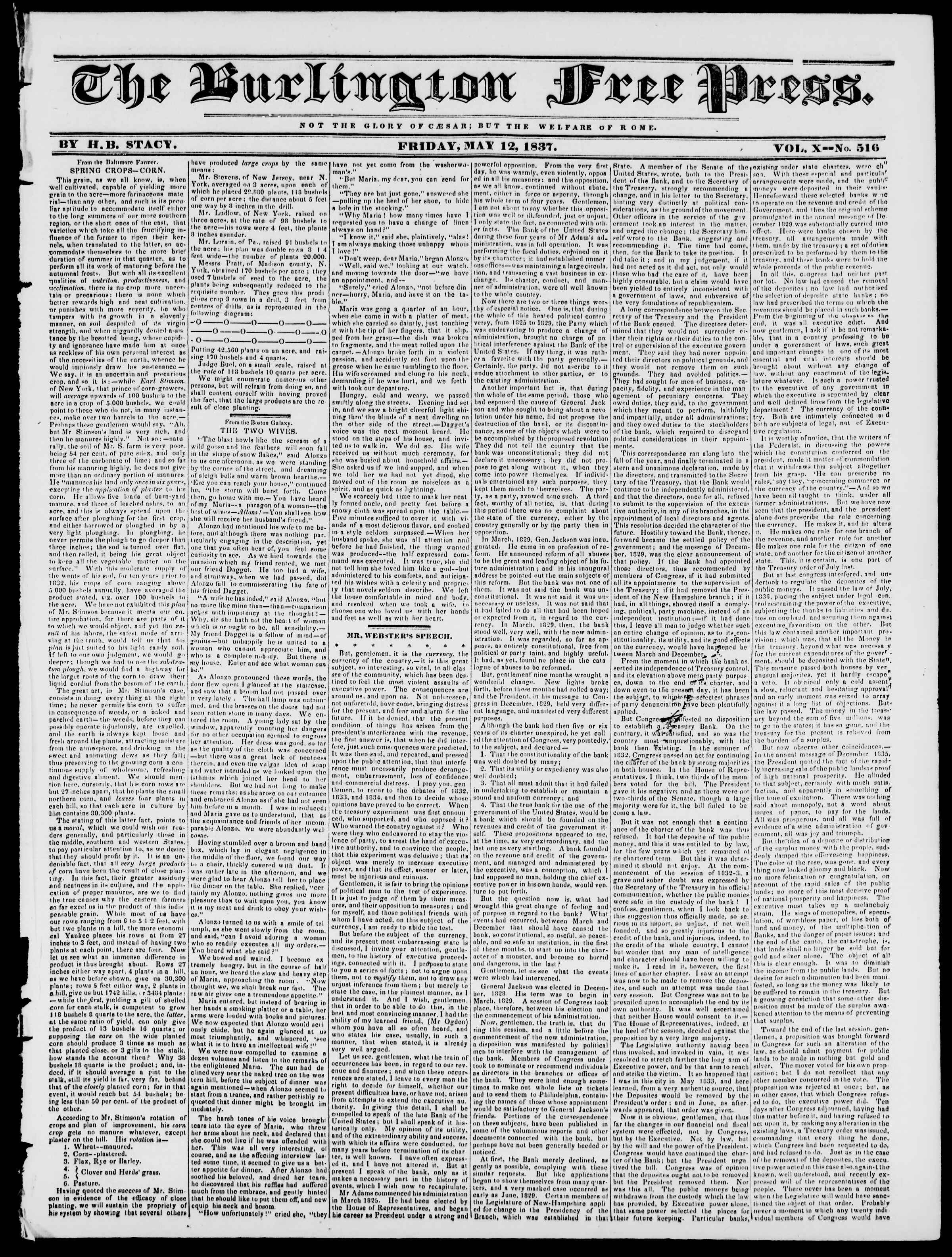Newspaper of Burlington Free Press dated May 12, 1837 Page 1