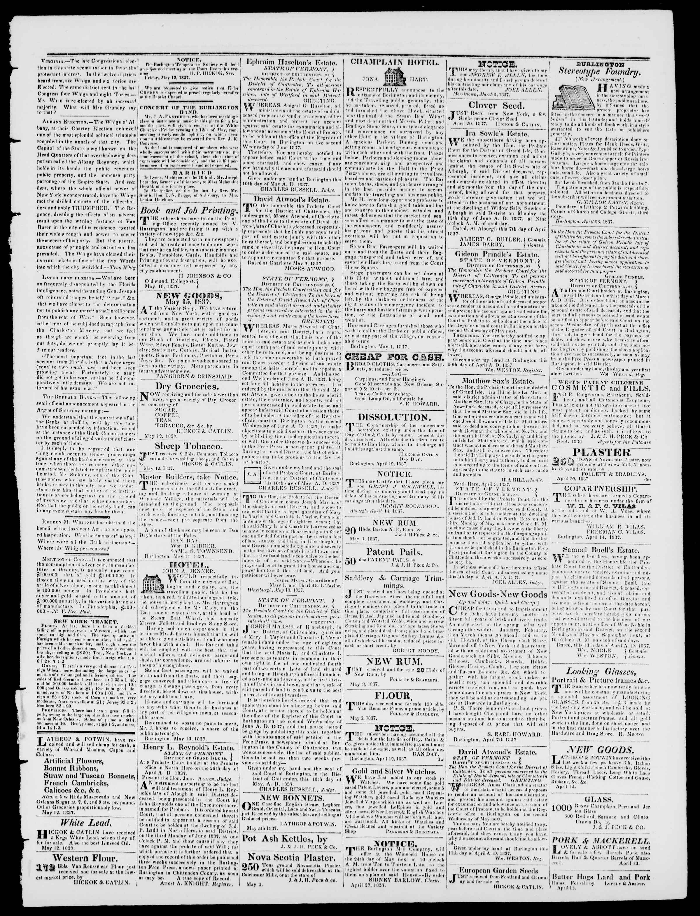 Newspaper of Burlington Free Press dated May 12, 1837 Page 3