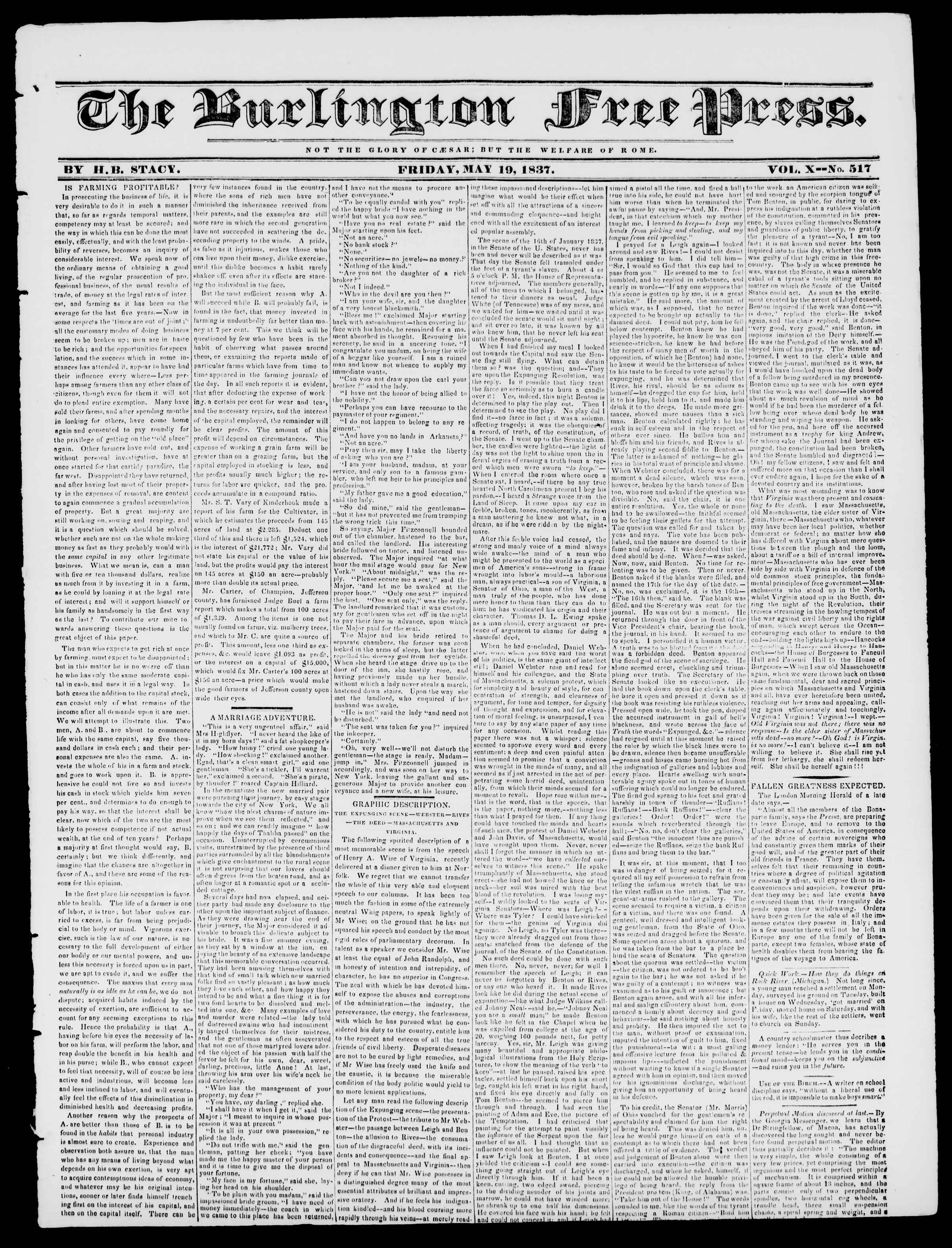Newspaper of Burlington Free Press dated May 19, 1837 Page 1