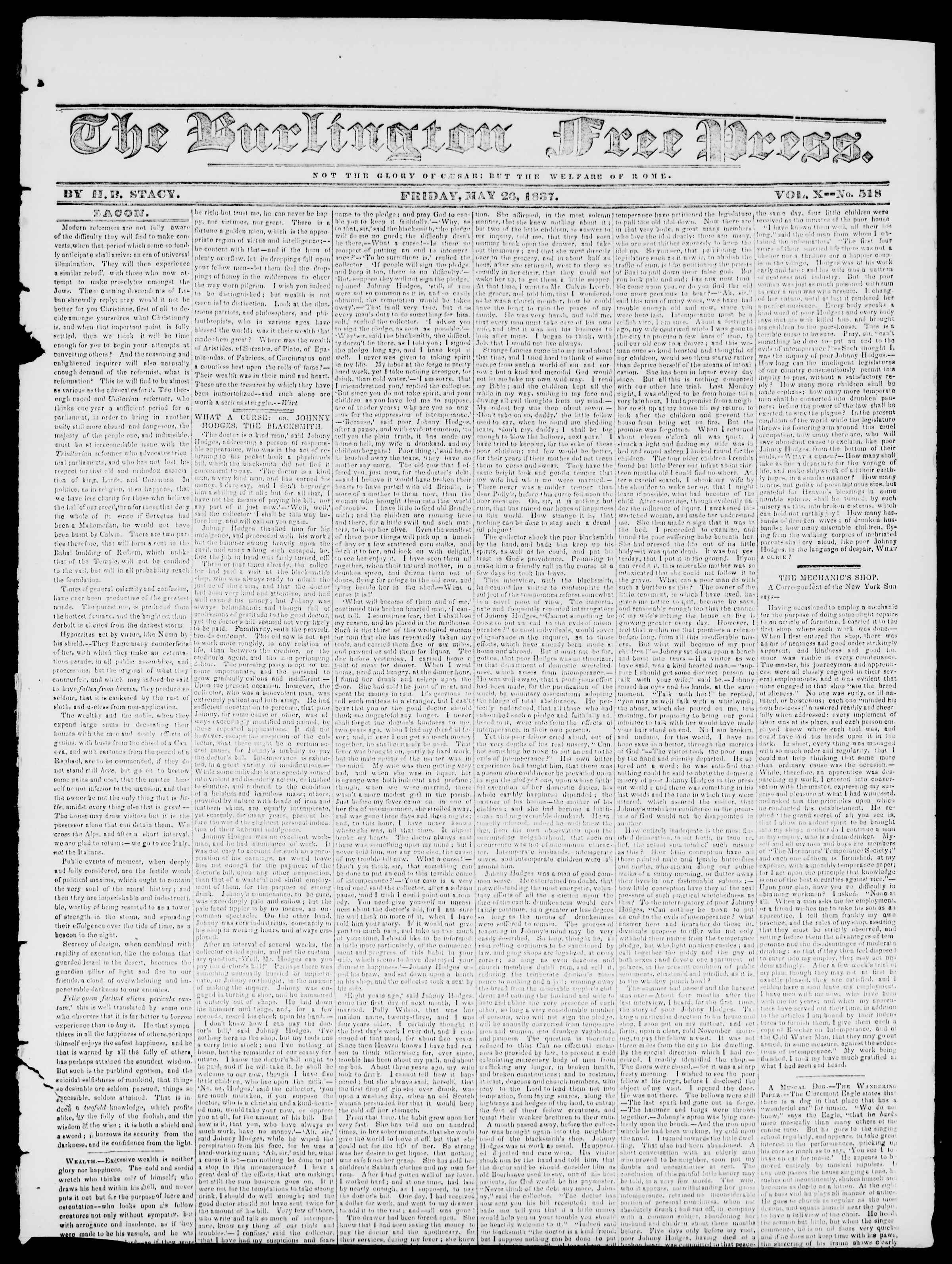 Newspaper of Burlington Free Press dated May 26, 1837 Page 1