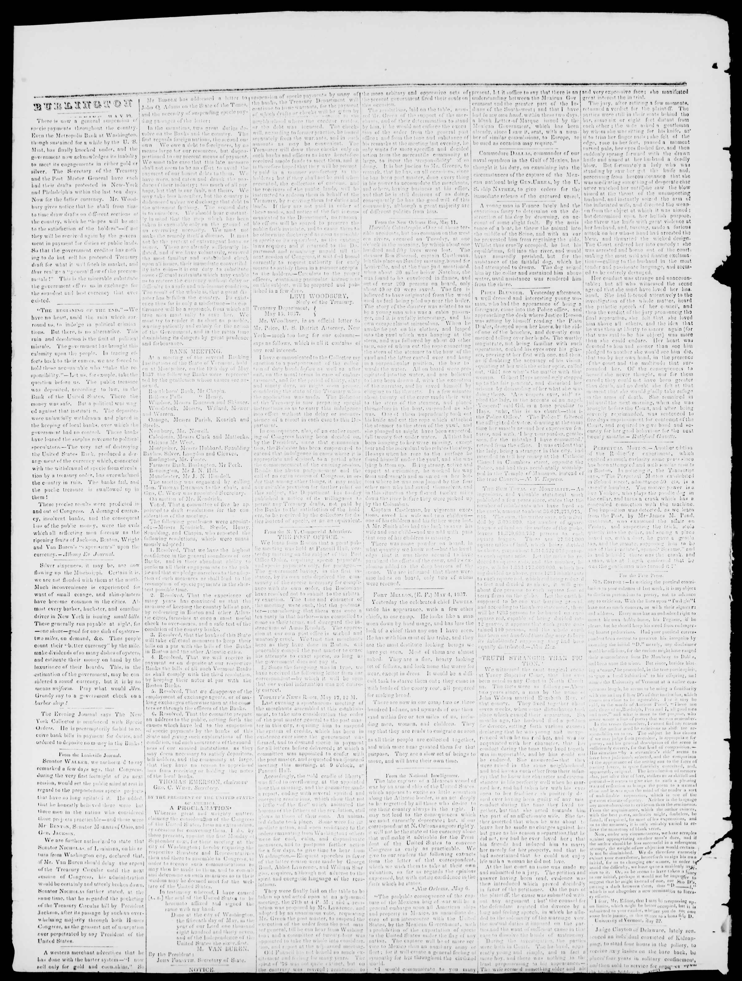 Newspaper of Burlington Free Press dated May 26, 1837 Page 2