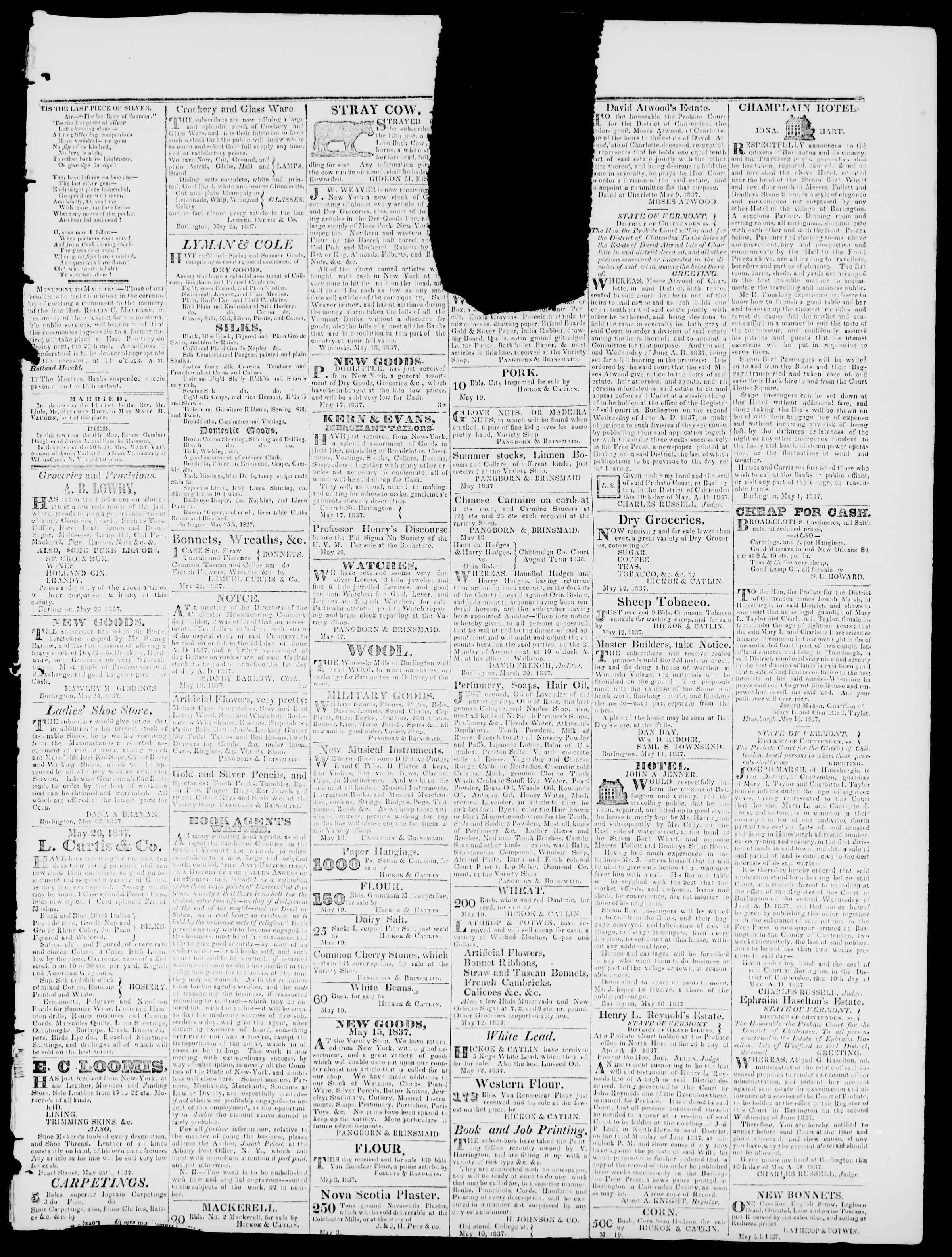 Newspaper of Burlington Free Press dated May 26, 1837 Page 3