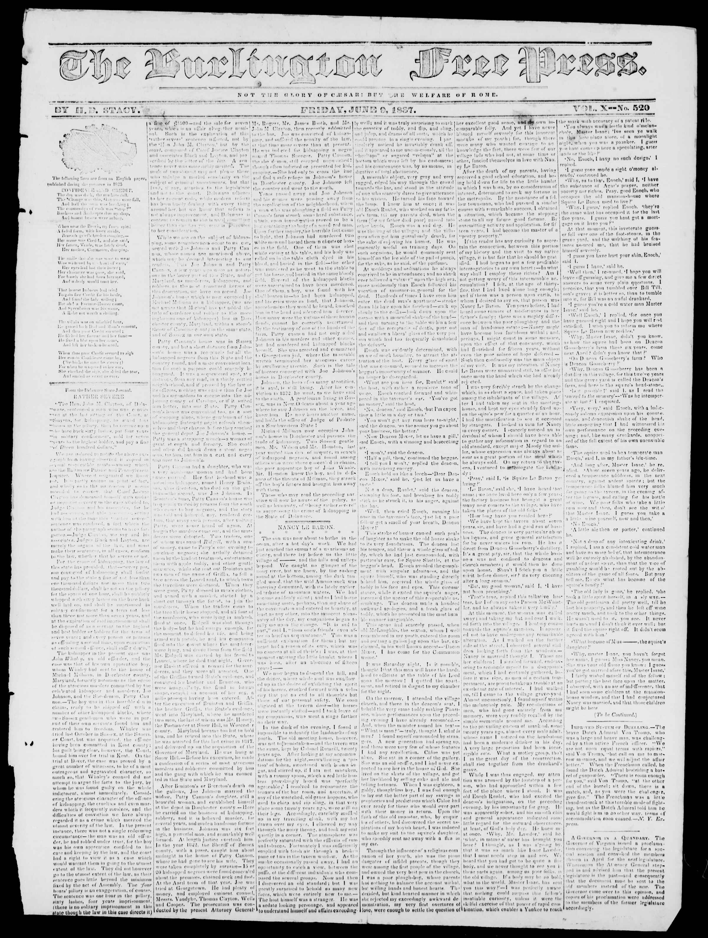Newspaper of Burlington Free Press dated June 9, 1837 Page 1