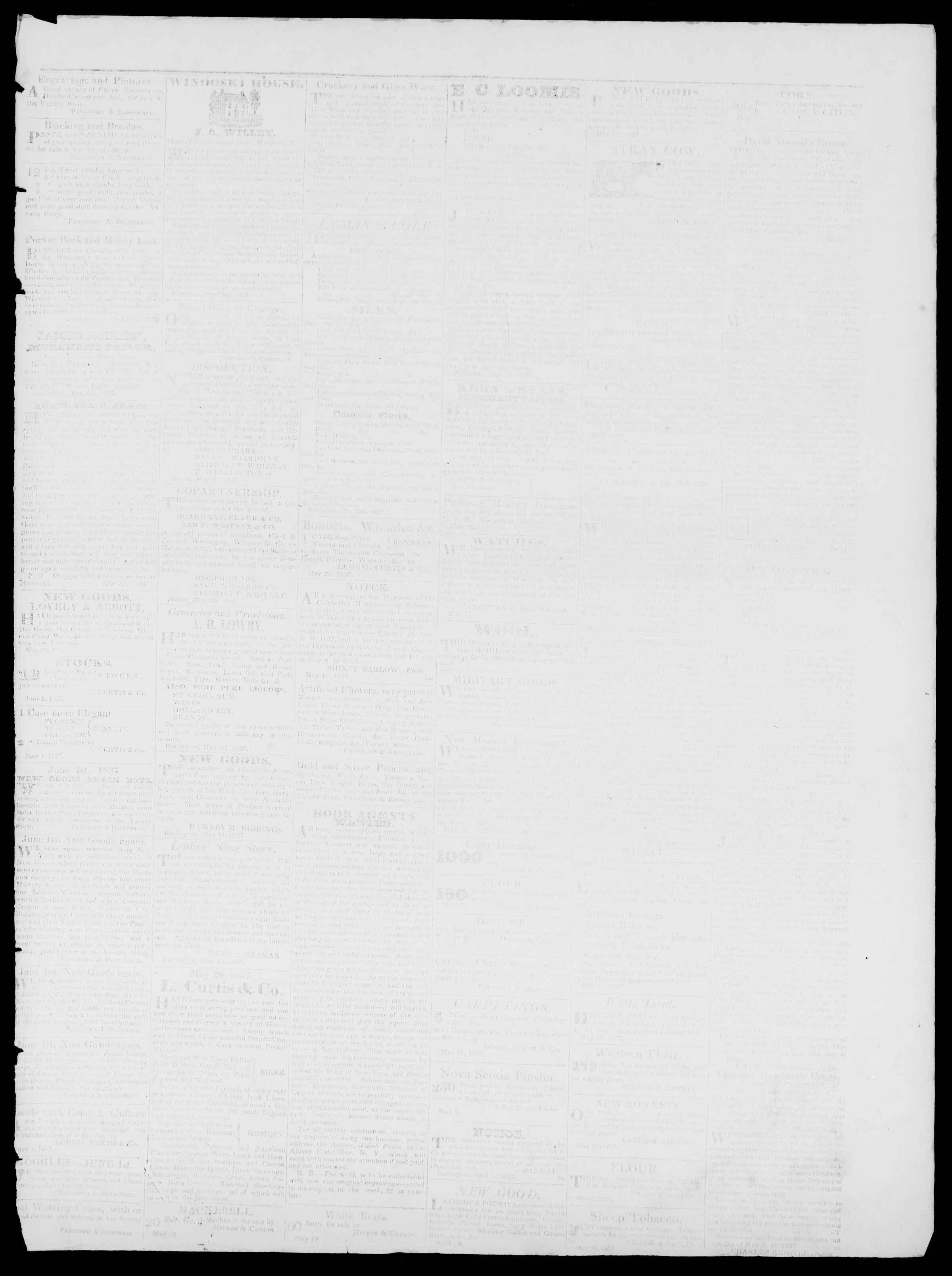 Newspaper of Burlington Free Press dated June 9, 1837 Page 3
