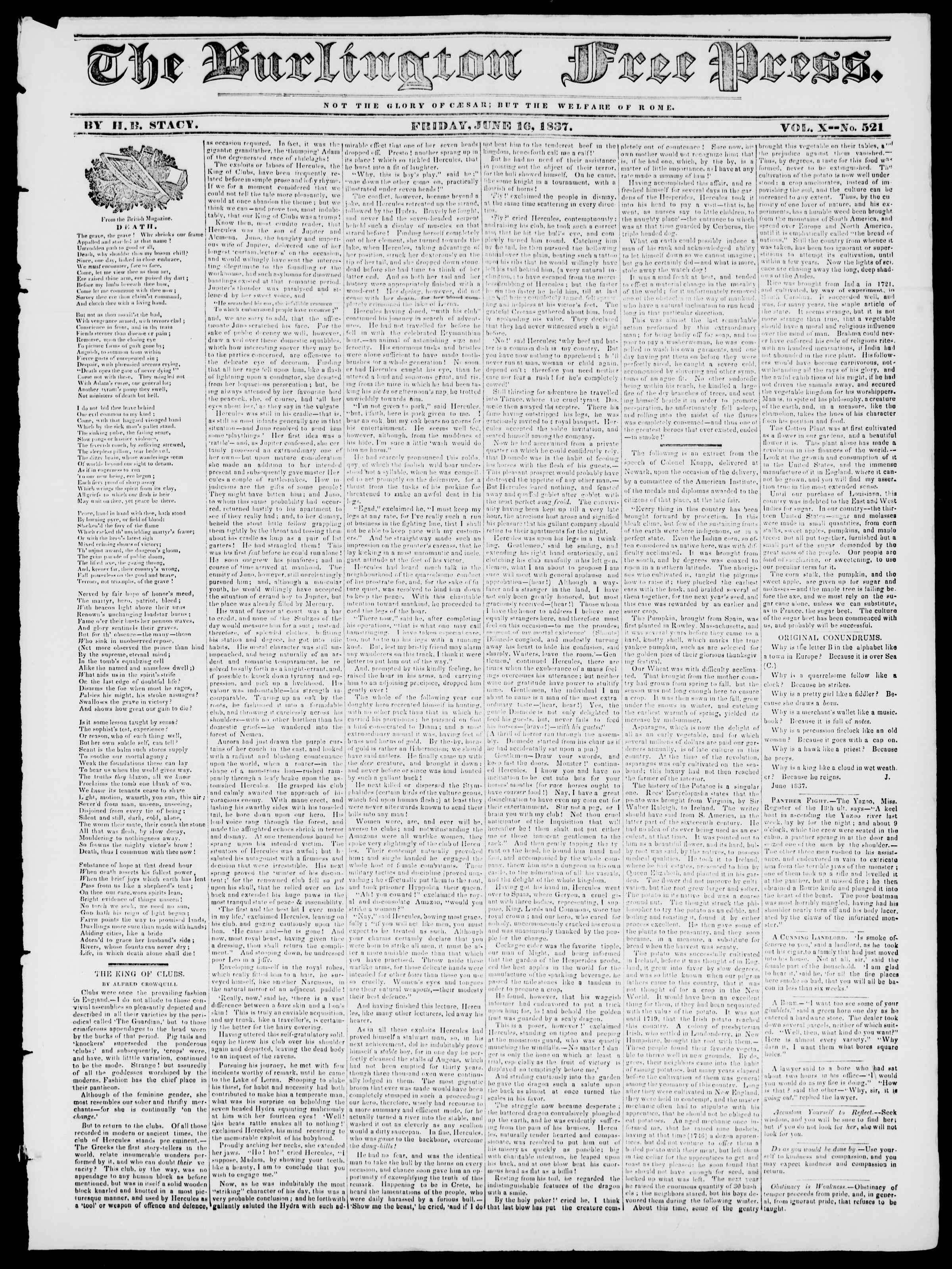 Newspaper of Burlington Free Press dated June 16, 1837 Page 1