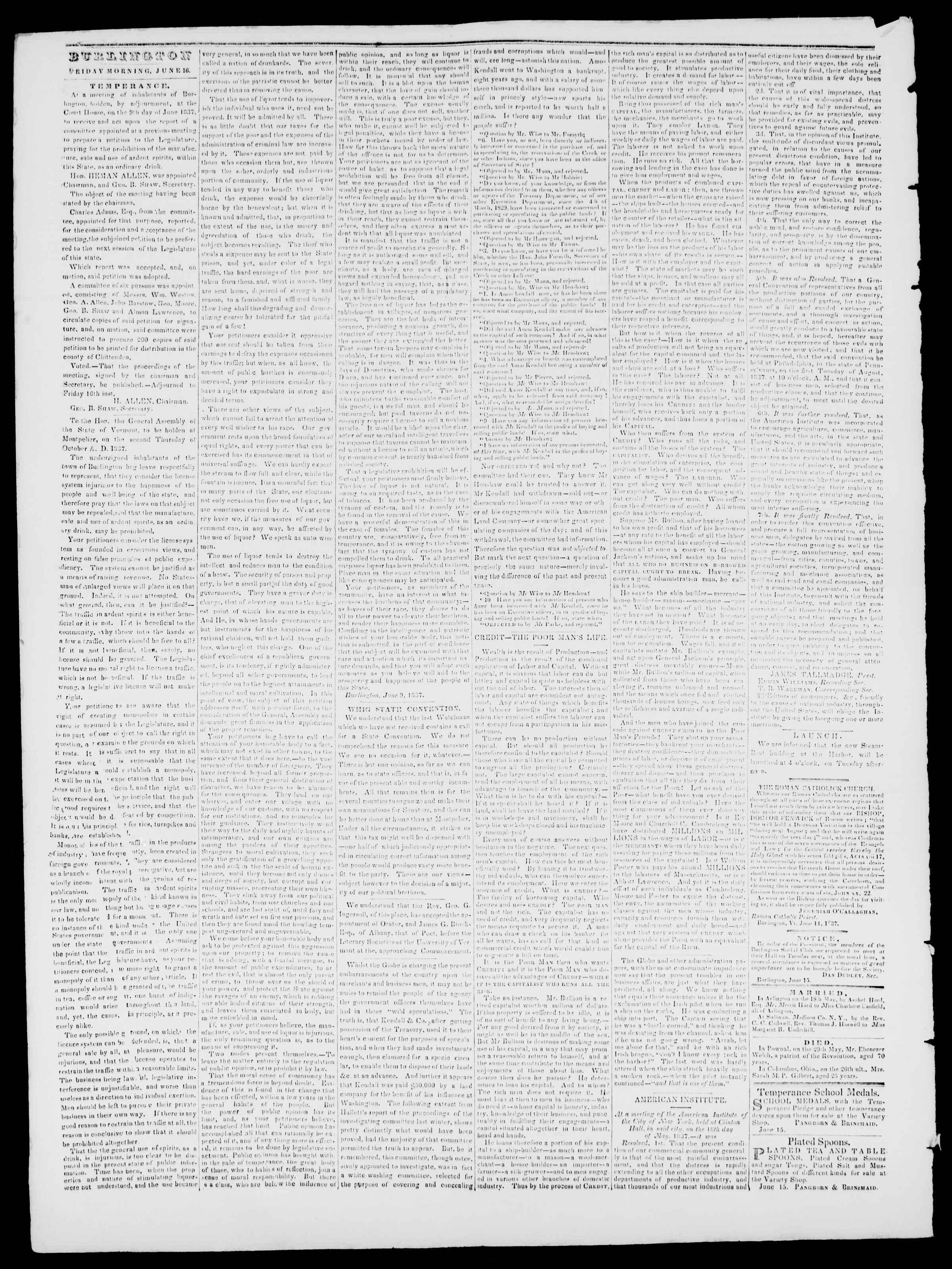 Newspaper of Burlington Free Press dated June 16, 1837 Page 2
