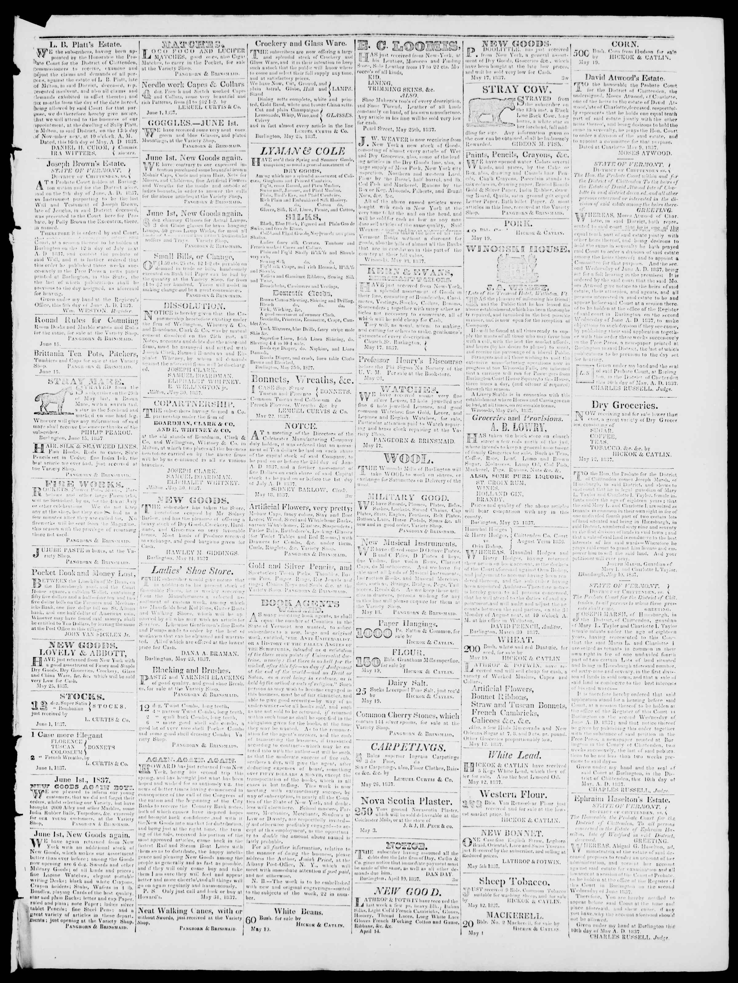 Newspaper of Burlington Free Press dated June 16, 1837 Page 3