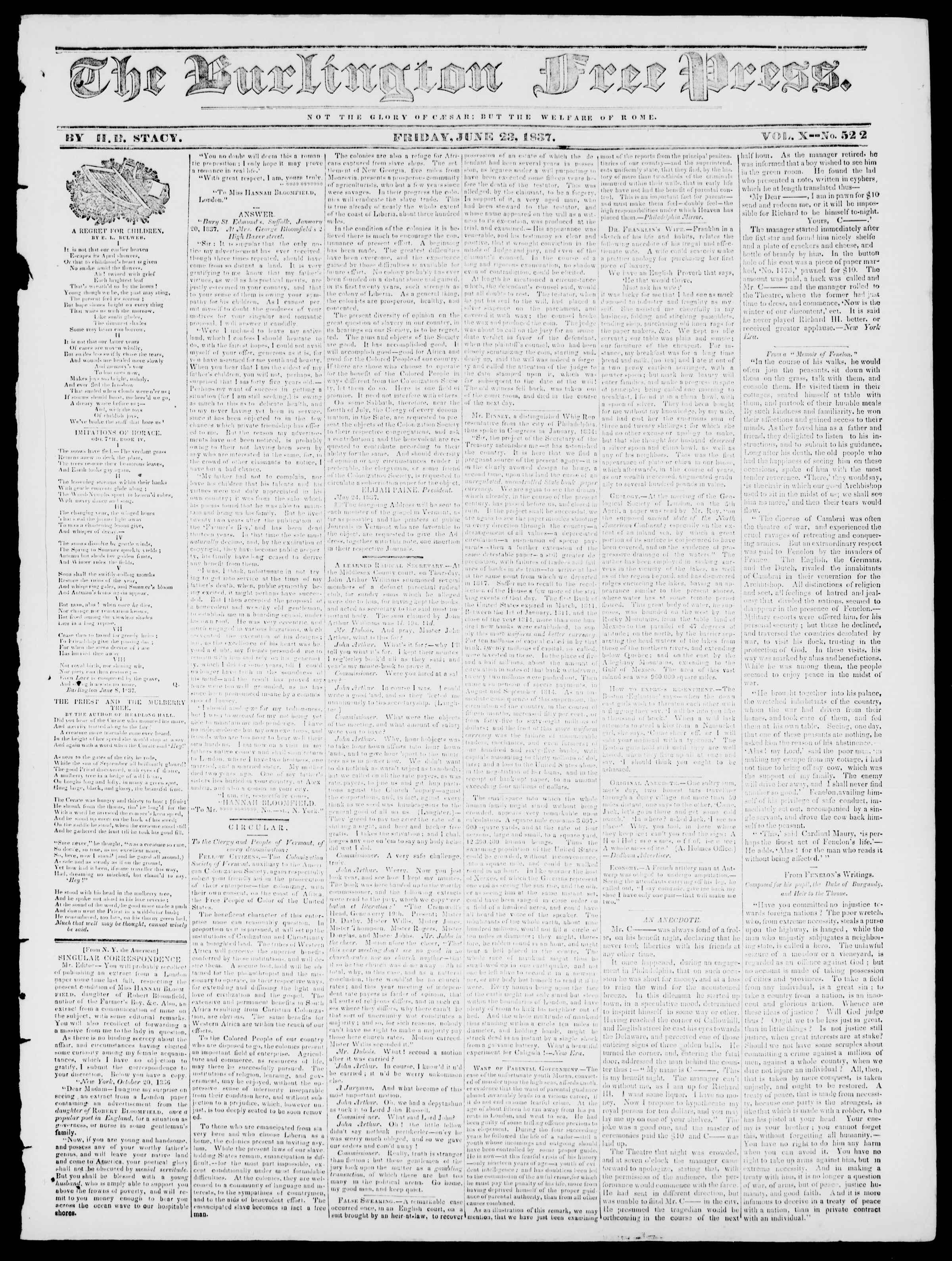 Newspaper of Burlington Free Press dated June 23, 1837 Page 1
