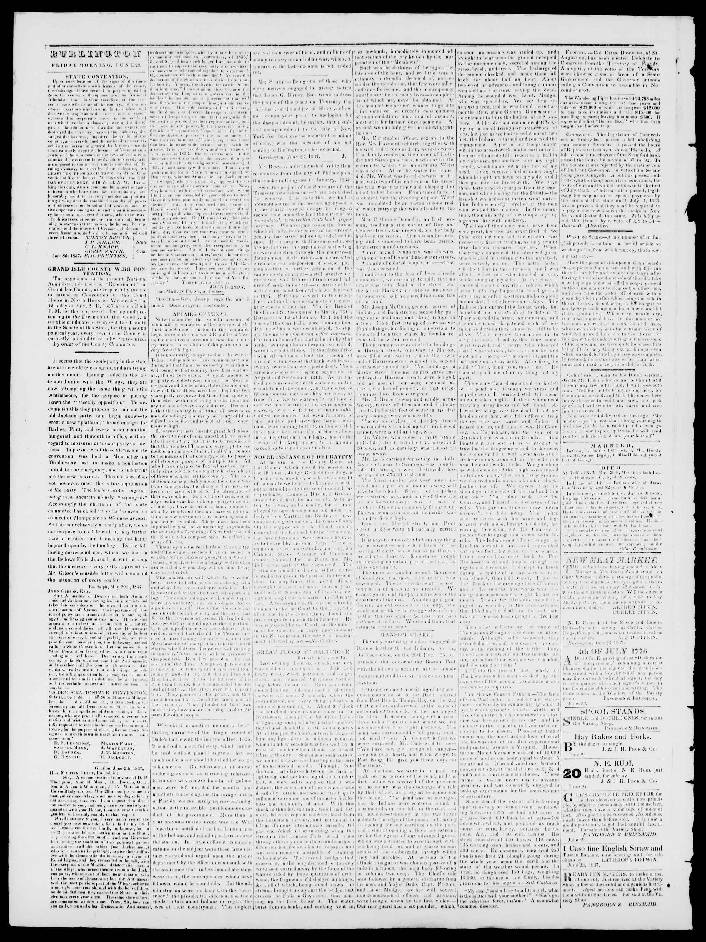 Newspaper of Burlington Free Press dated June 23, 1837 Page 2