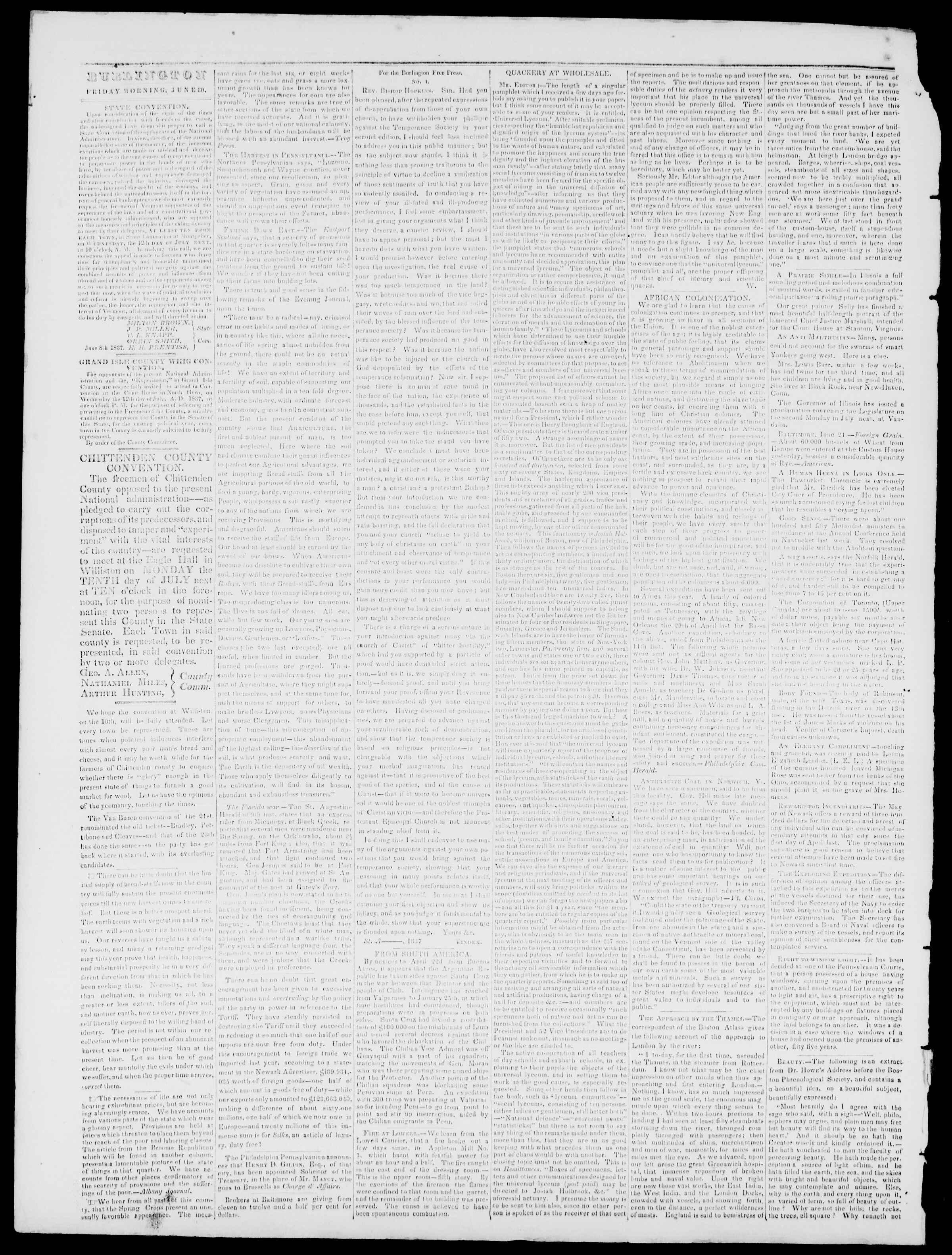 Newspaper of Burlington Free Press dated June 30, 1837 Page 2