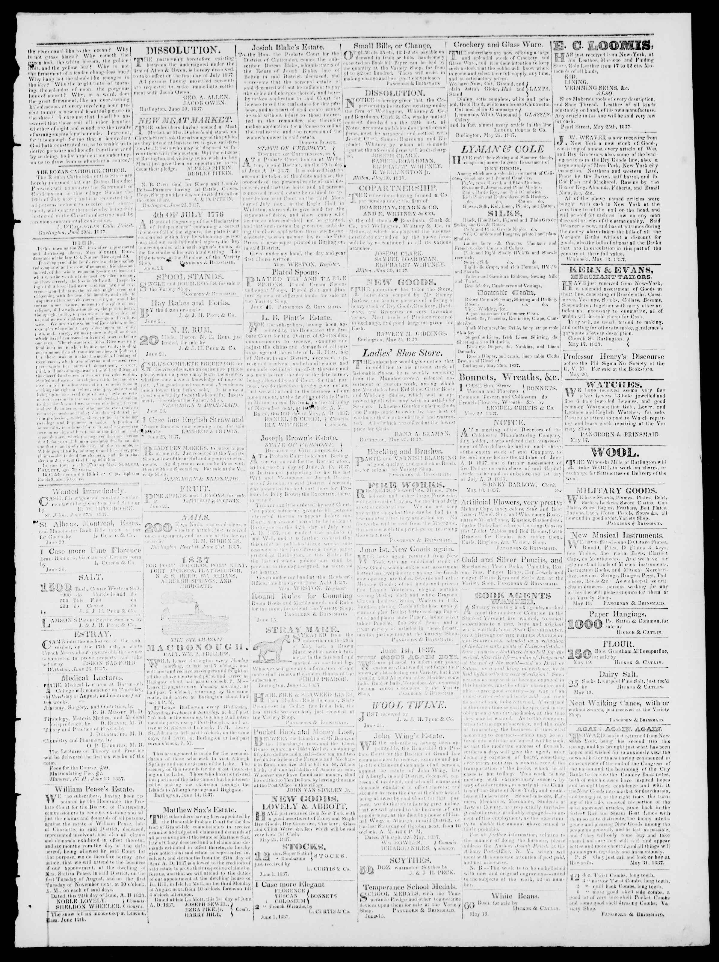 Newspaper of Burlington Free Press dated June 30, 1837 Page 3