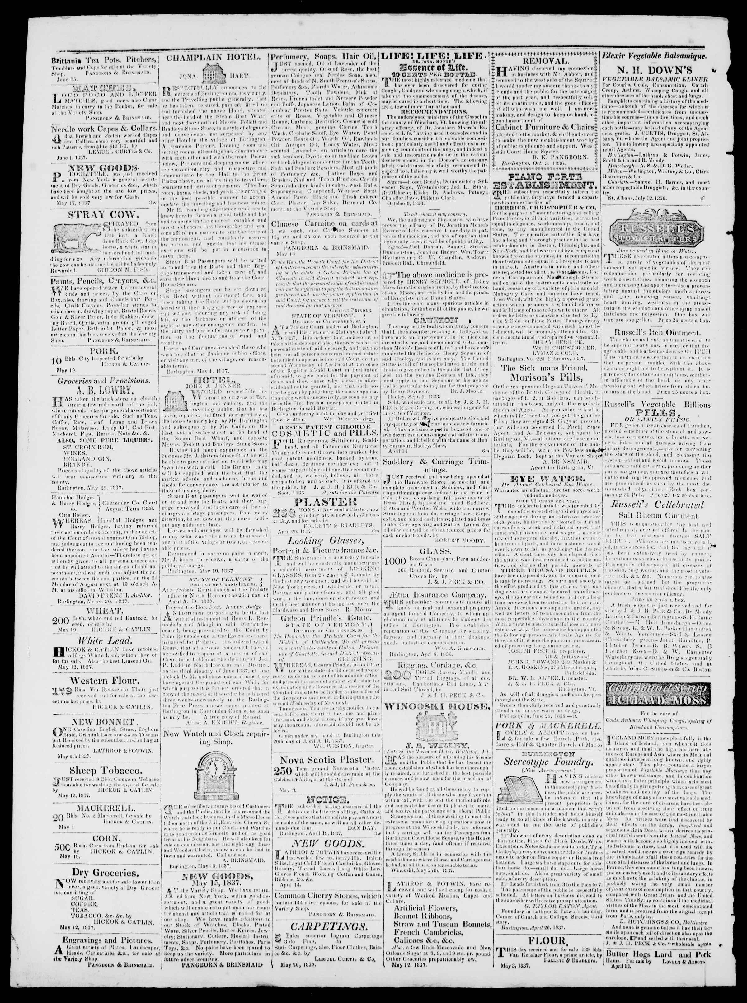 Newspaper of Burlington Free Press dated June 30, 1837 Page 4