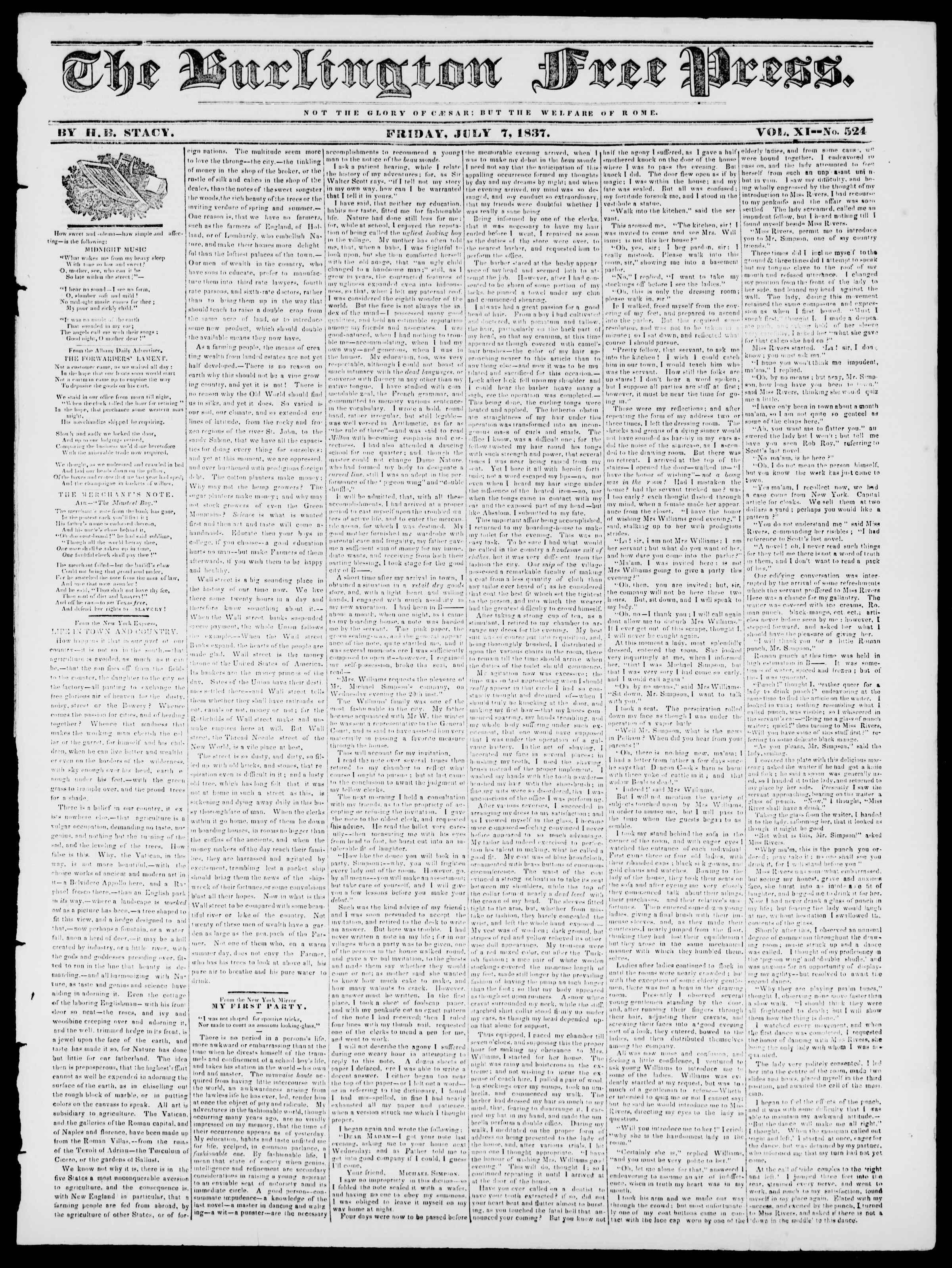 Newspaper of Burlington Free Press dated July 7, 1837 Page 1