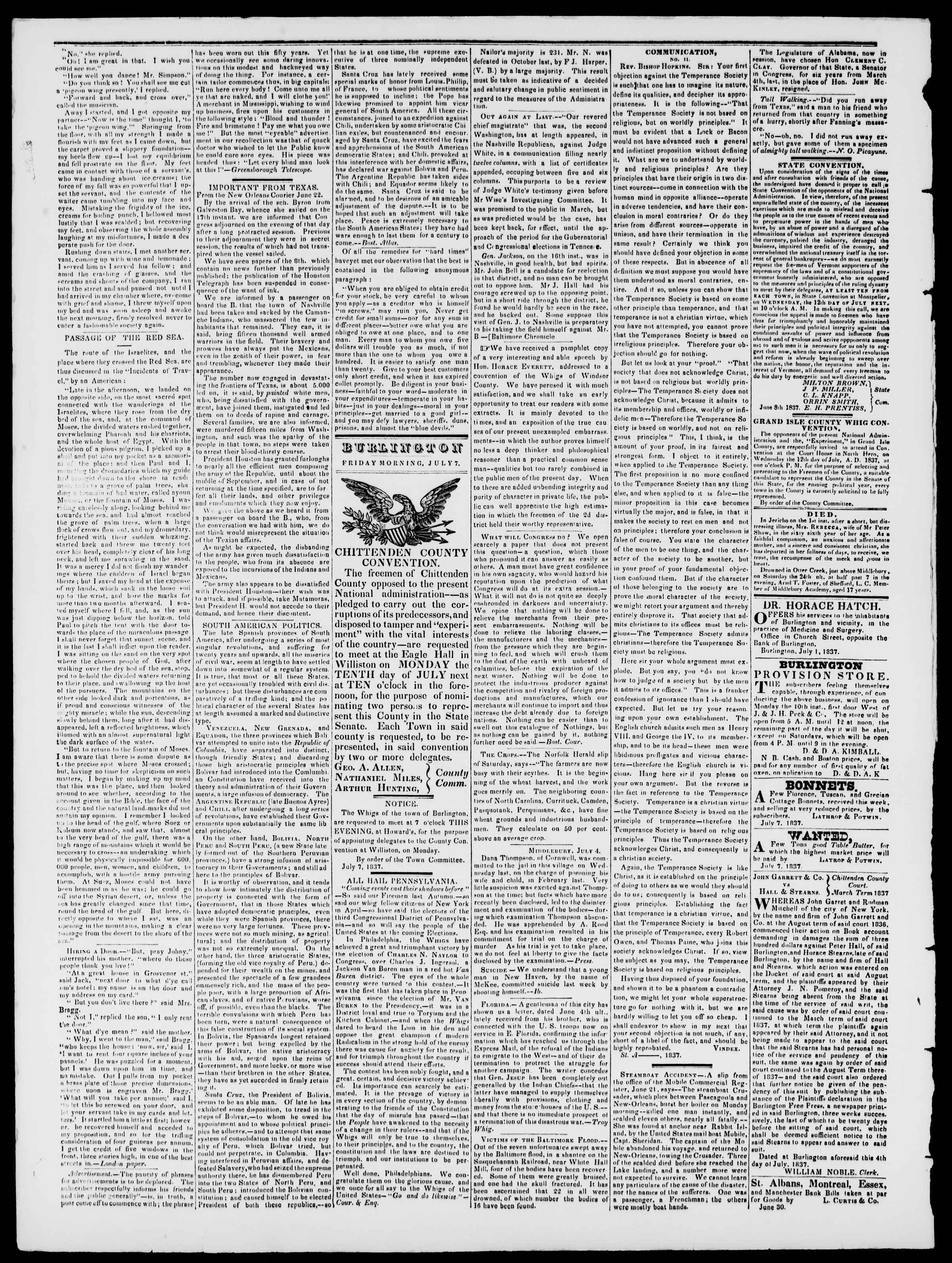 Newspaper of Burlington Free Press dated July 7, 1837 Page 2