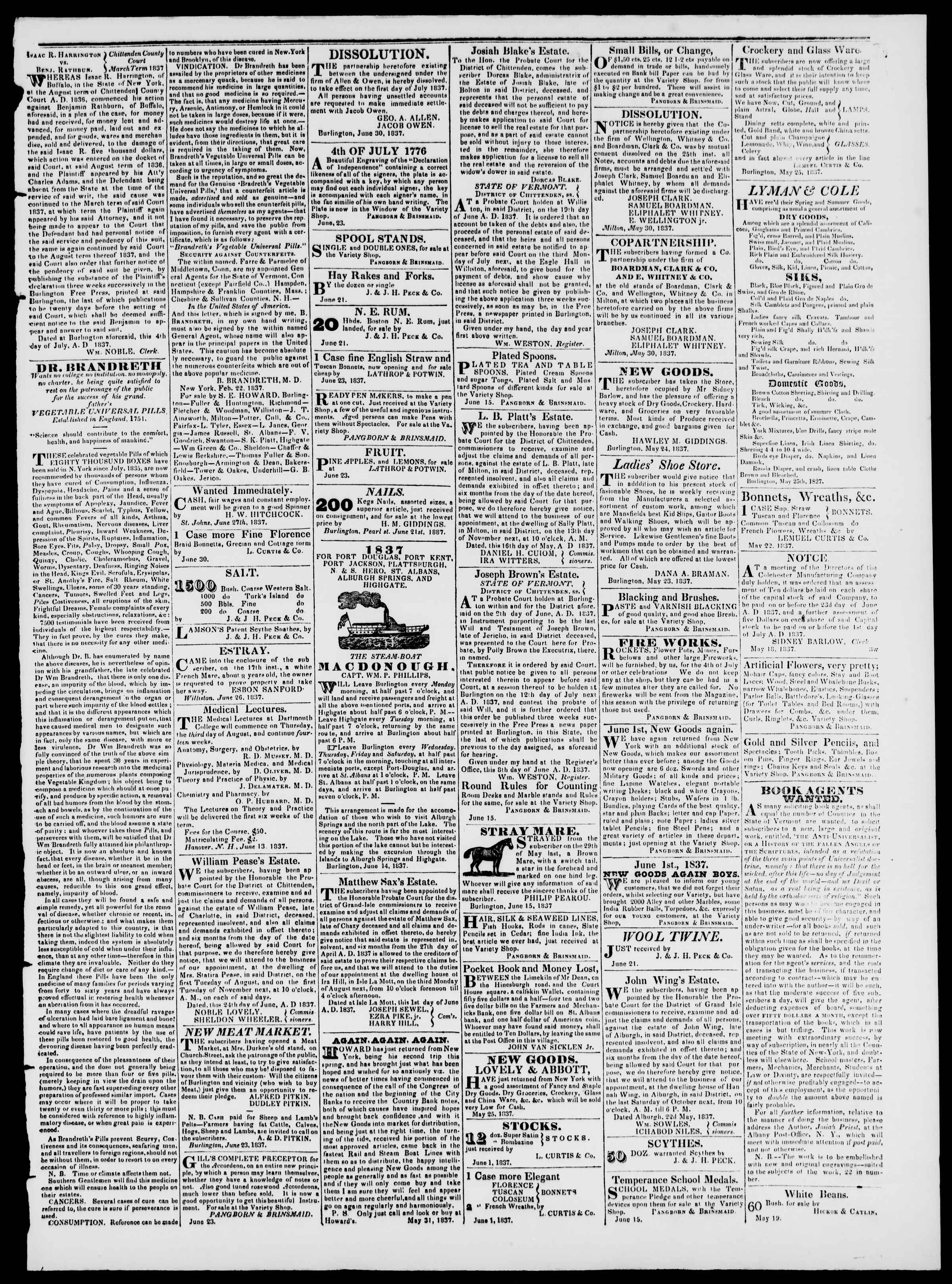 Newspaper of Burlington Free Press dated July 7, 1837 Page 3