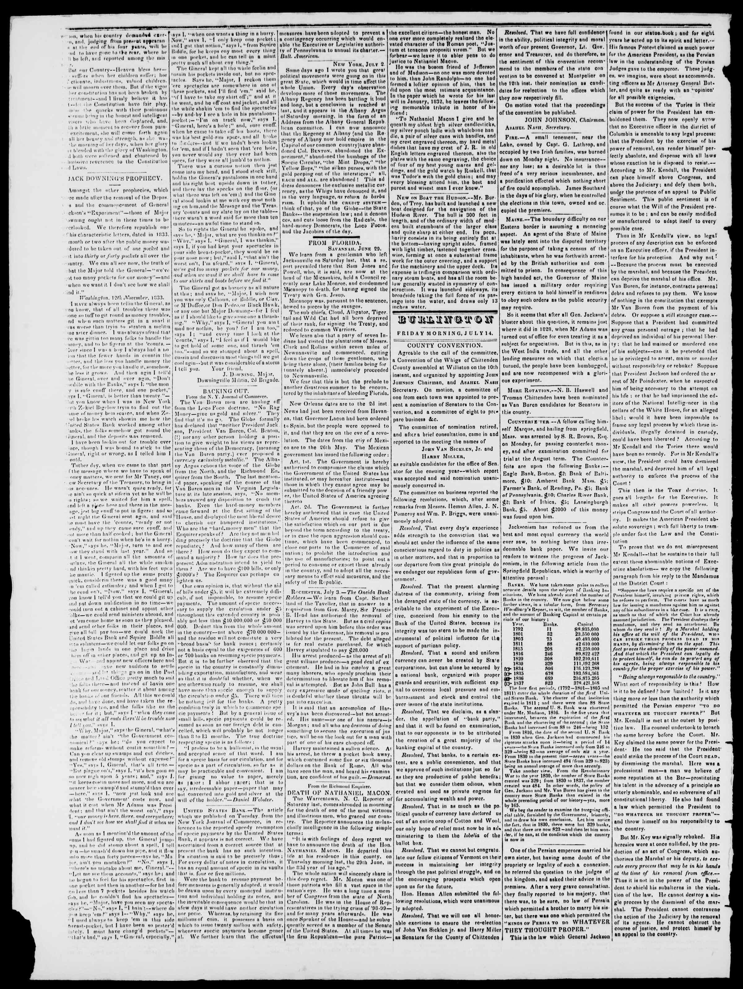 Newspaper of Burlington Free Press dated July 14, 1837 Page 2