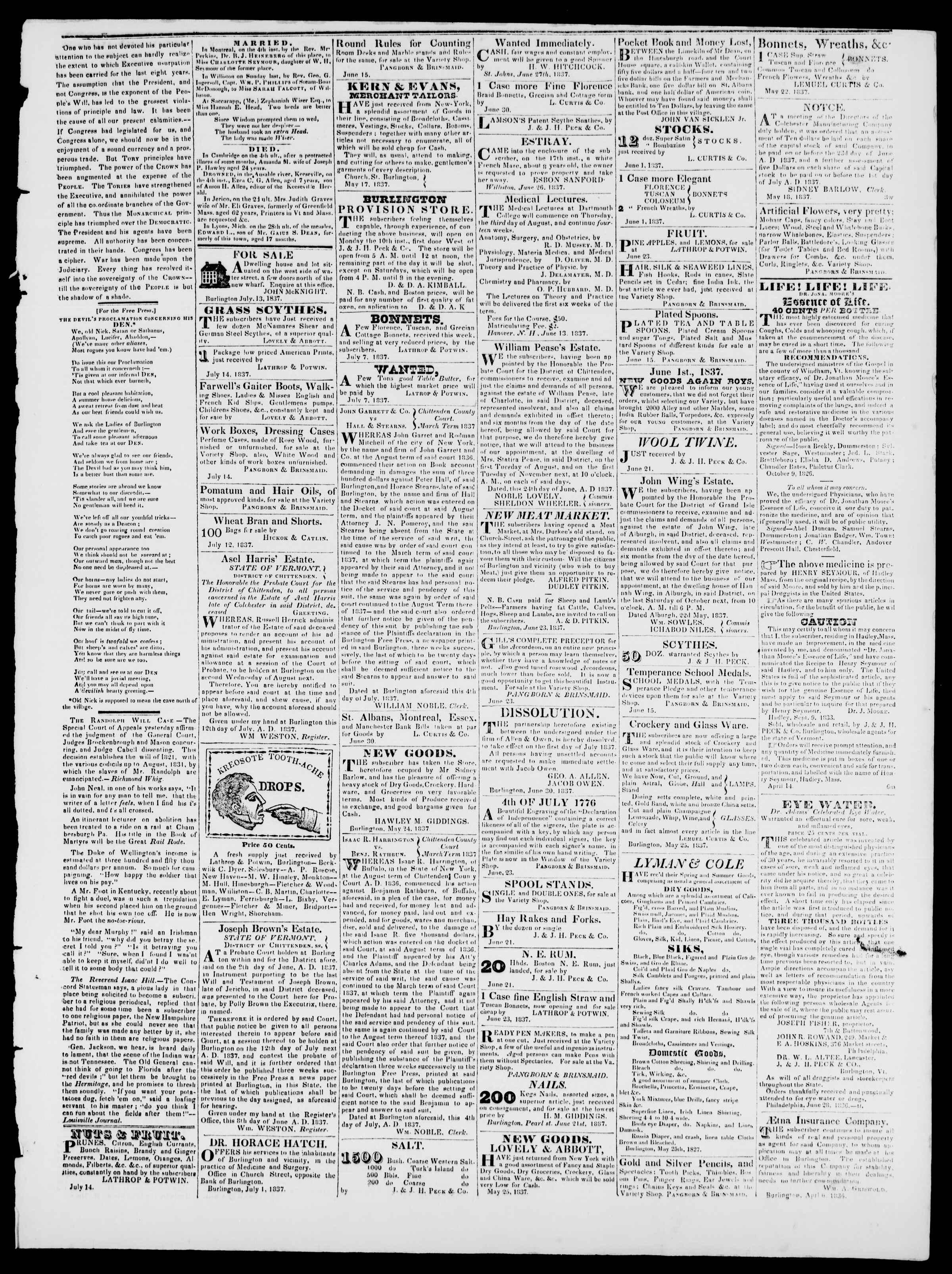 Newspaper of Burlington Free Press dated July 14, 1837 Page 3