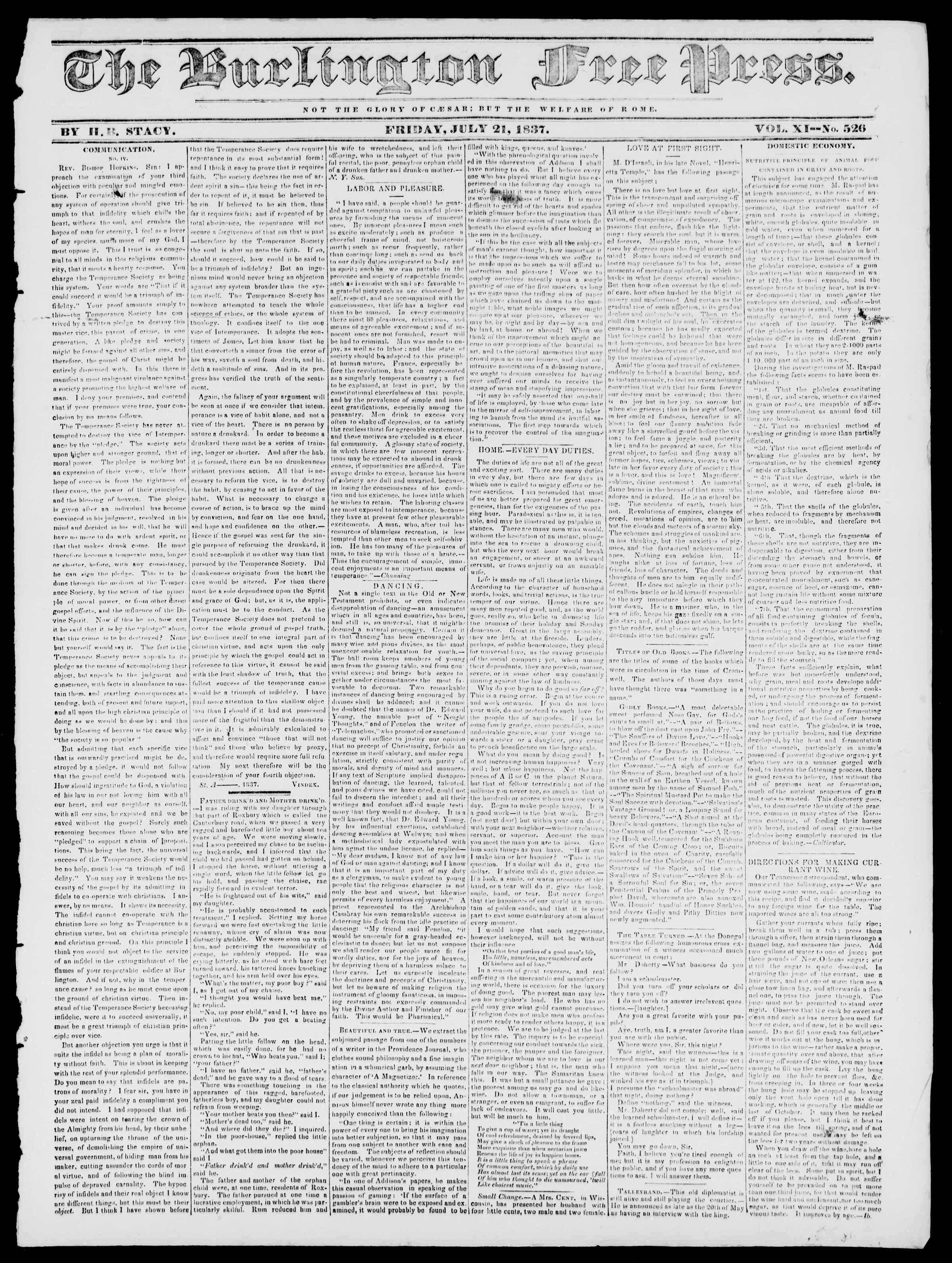 Newspaper of Burlington Free Press dated July 21, 1837 Page 1