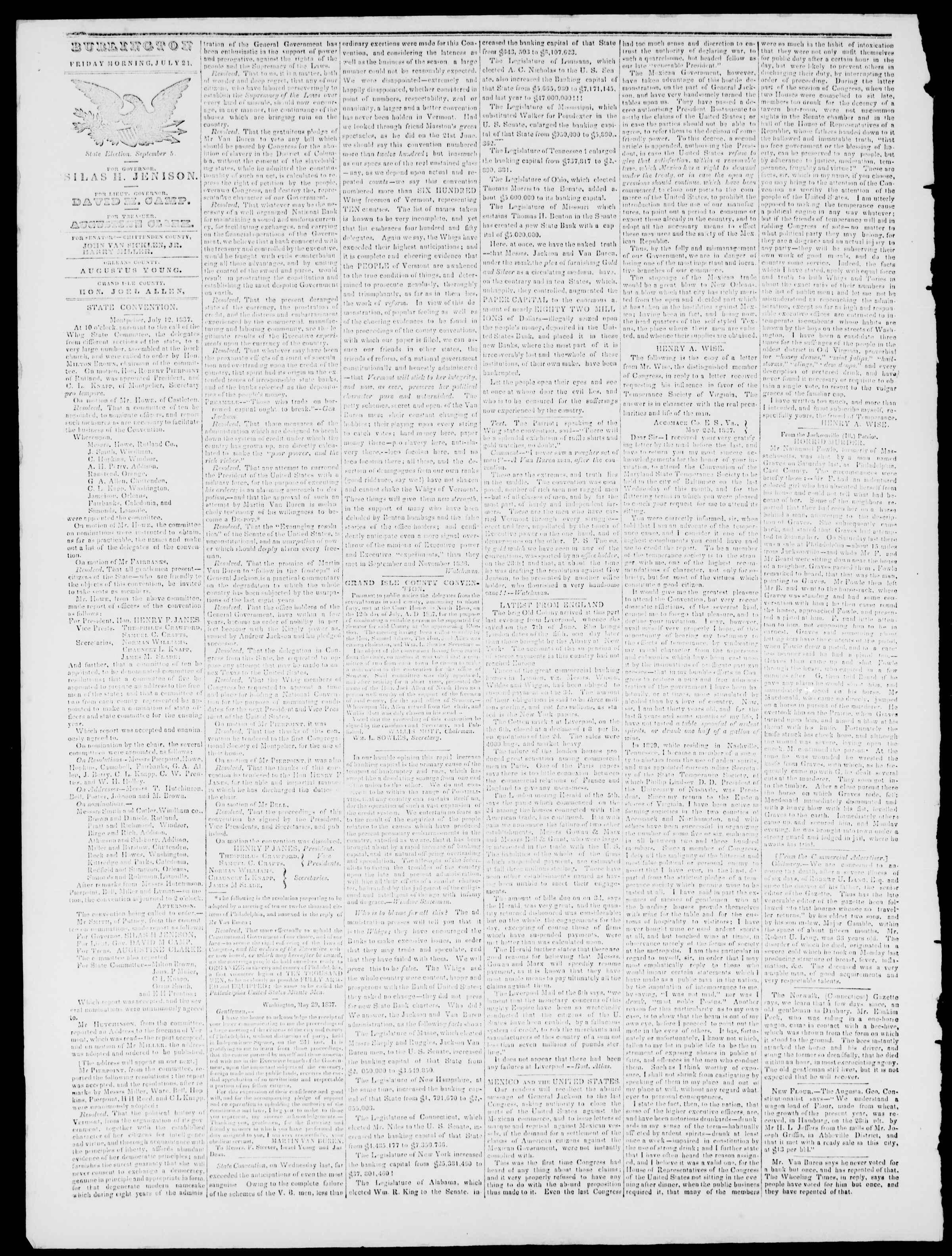 Newspaper of Burlington Free Press dated July 21, 1837 Page 2