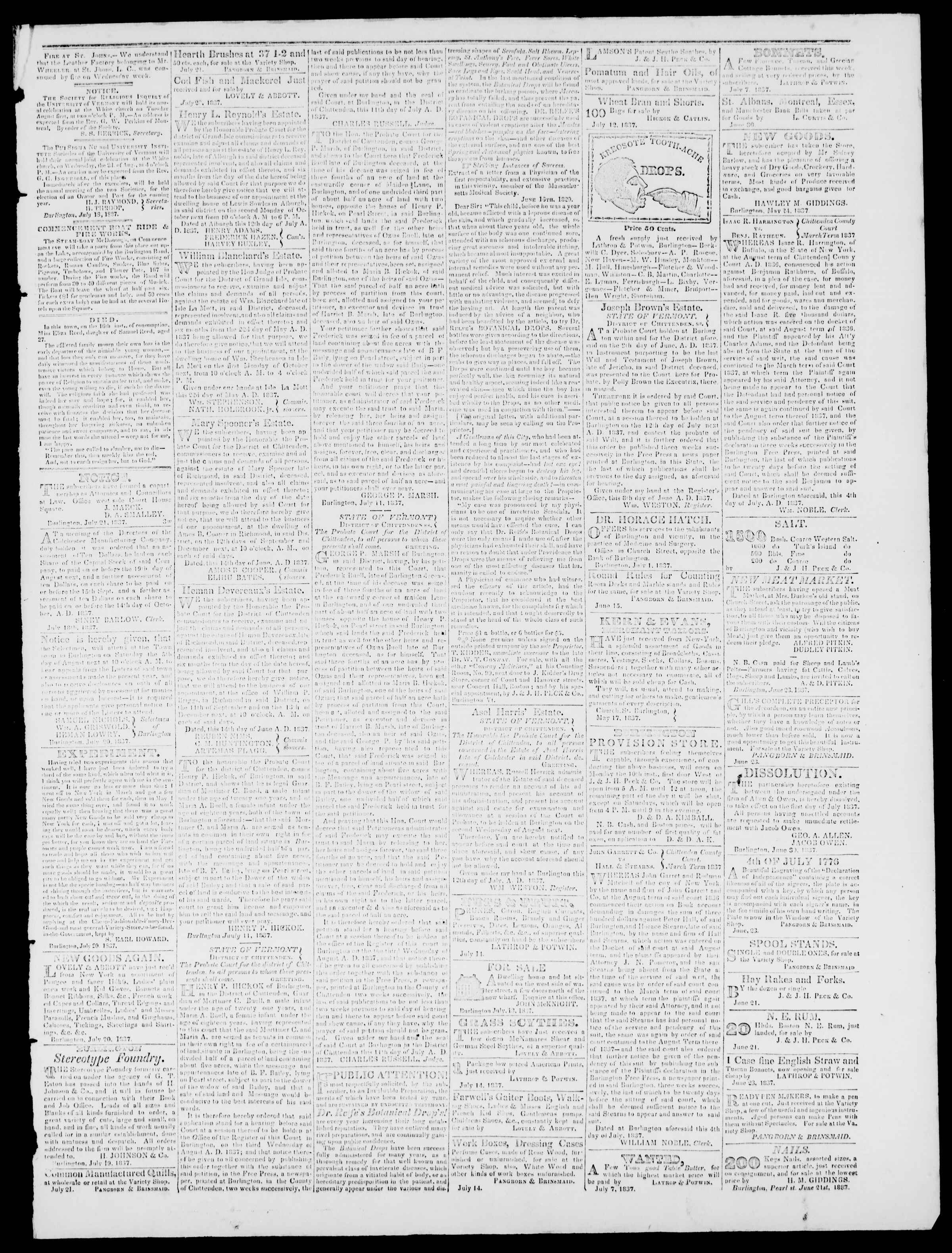 Newspaper of Burlington Free Press dated July 21, 1837 Page 3