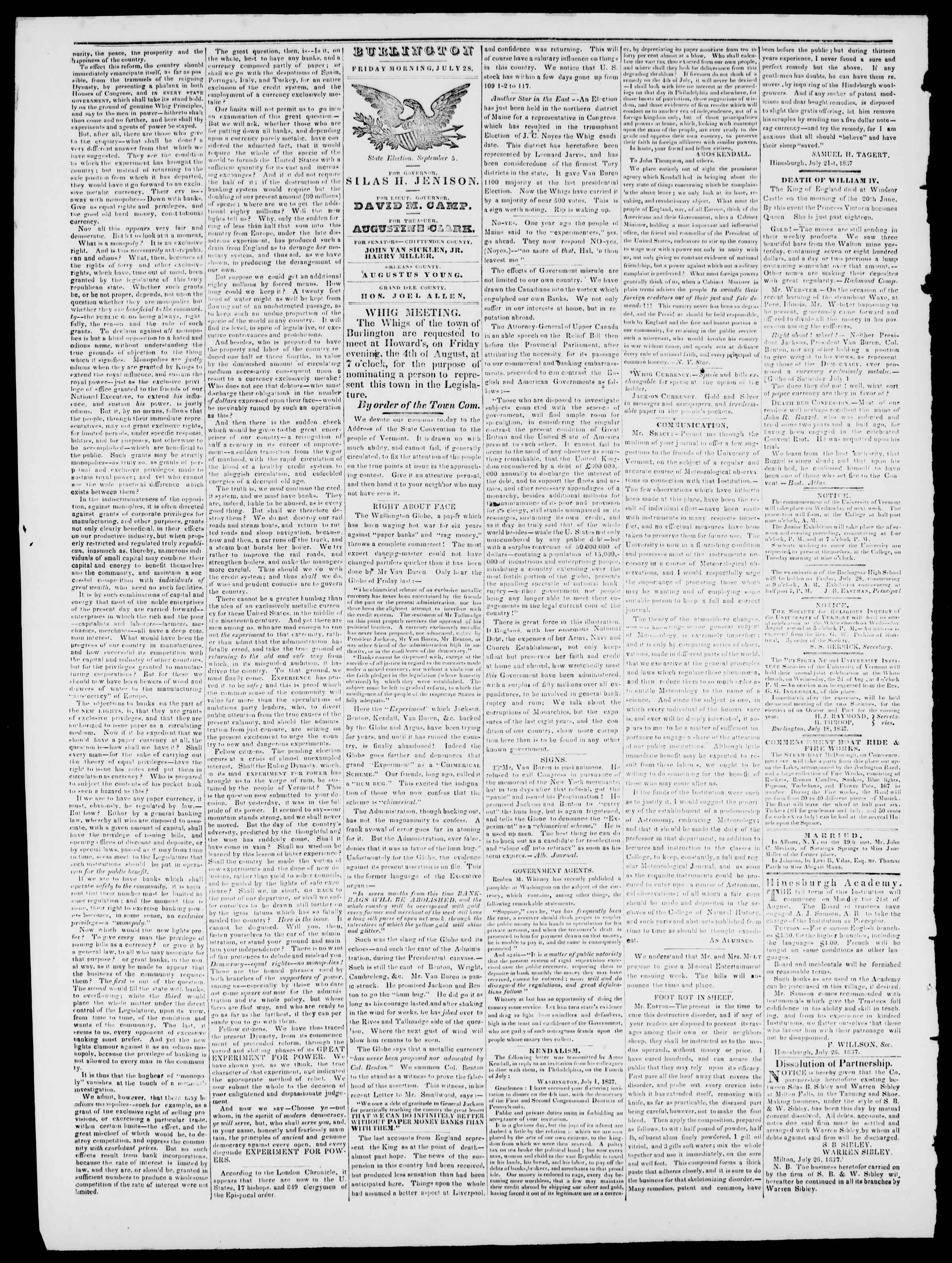 Newspaper of Burlington Free Press dated July 28, 1837 Page 2
