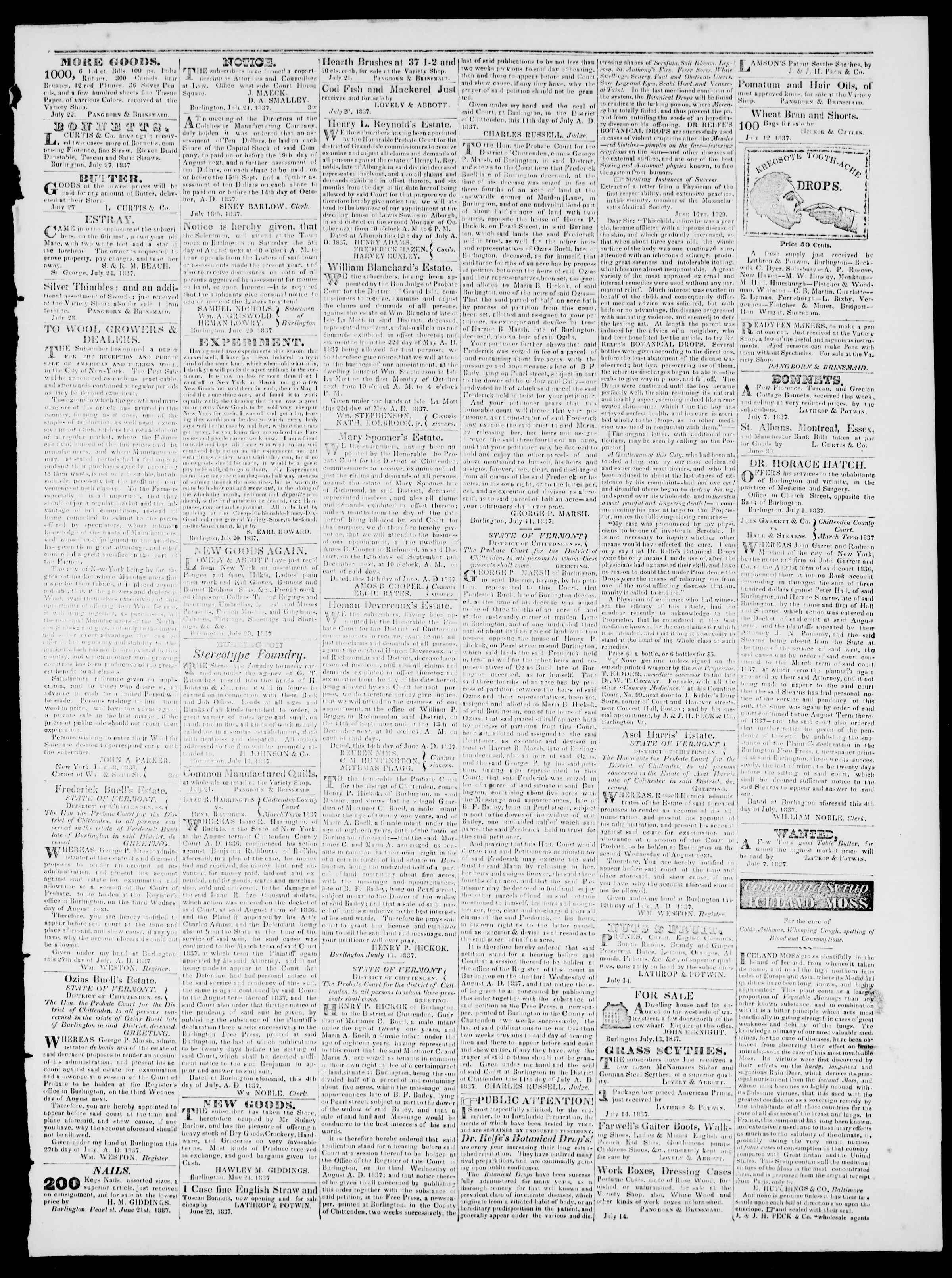 Newspaper of Burlington Free Press dated July 28, 1837 Page 3