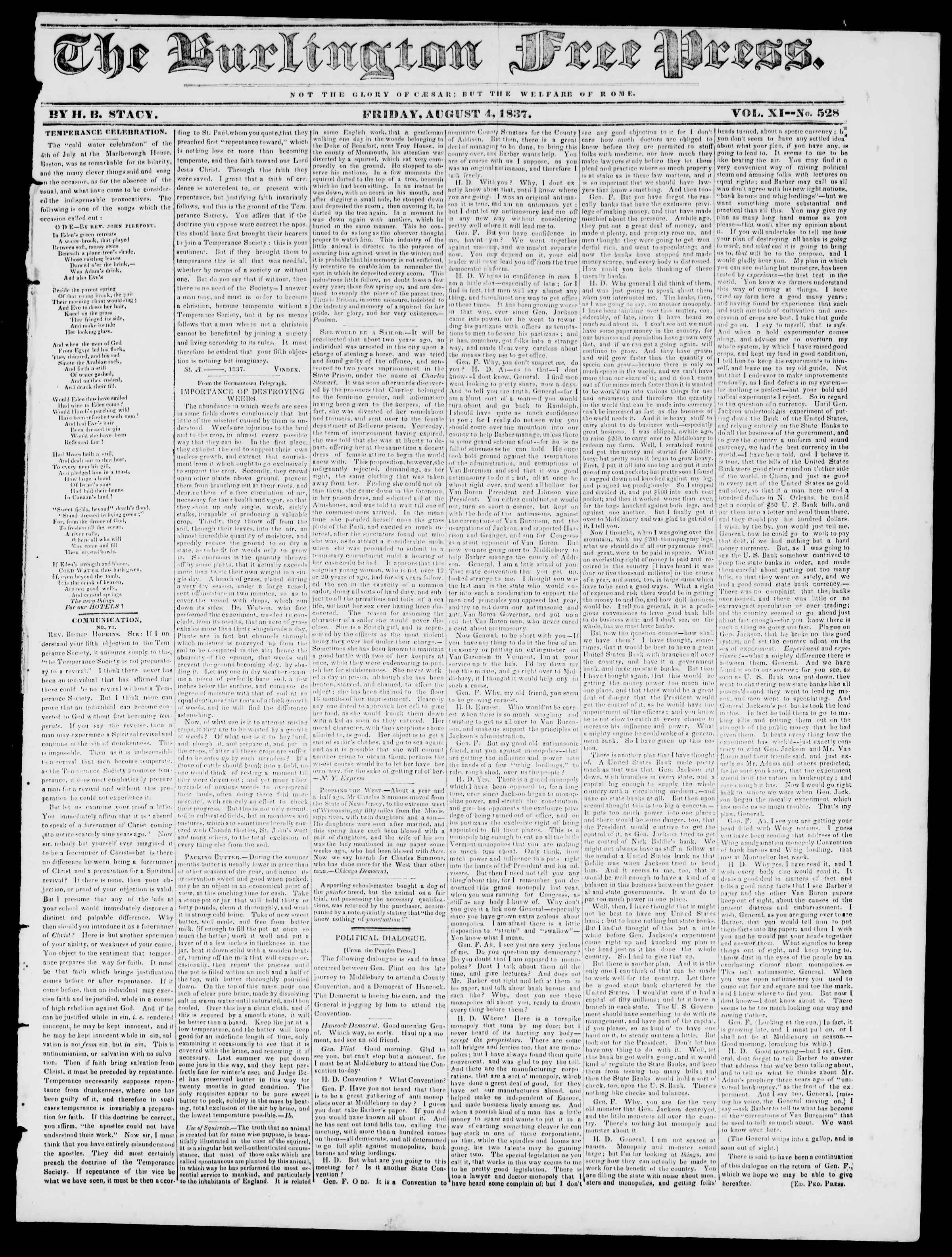 Newspaper of Burlington Free Press dated August 4, 1837 Page 1
