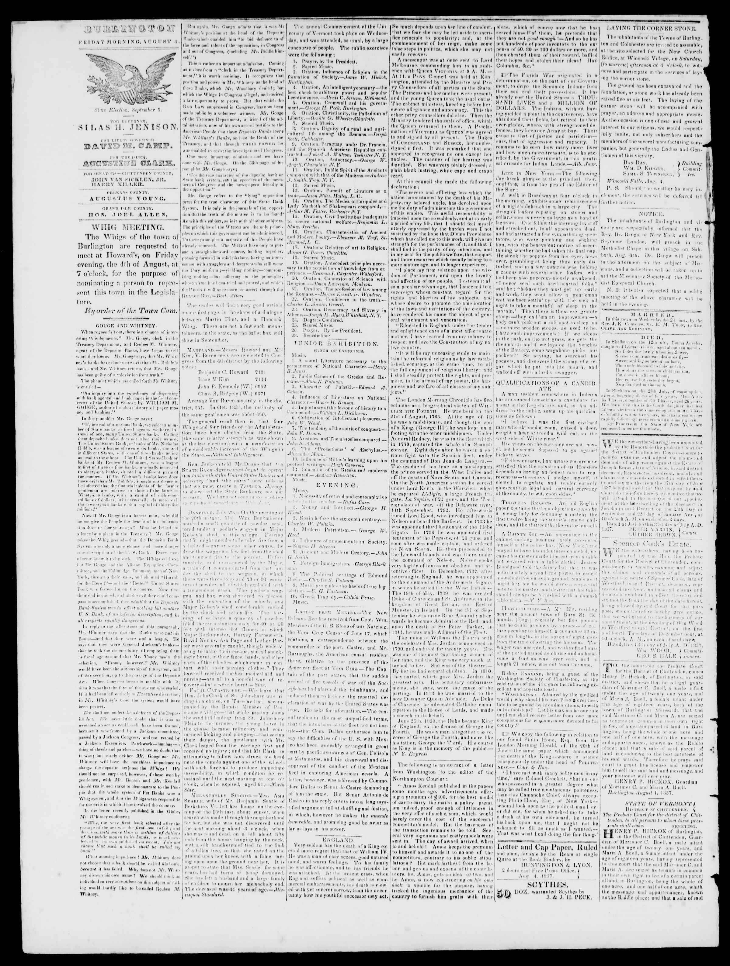 Newspaper of Burlington Free Press dated August 4, 1837 Page 2
