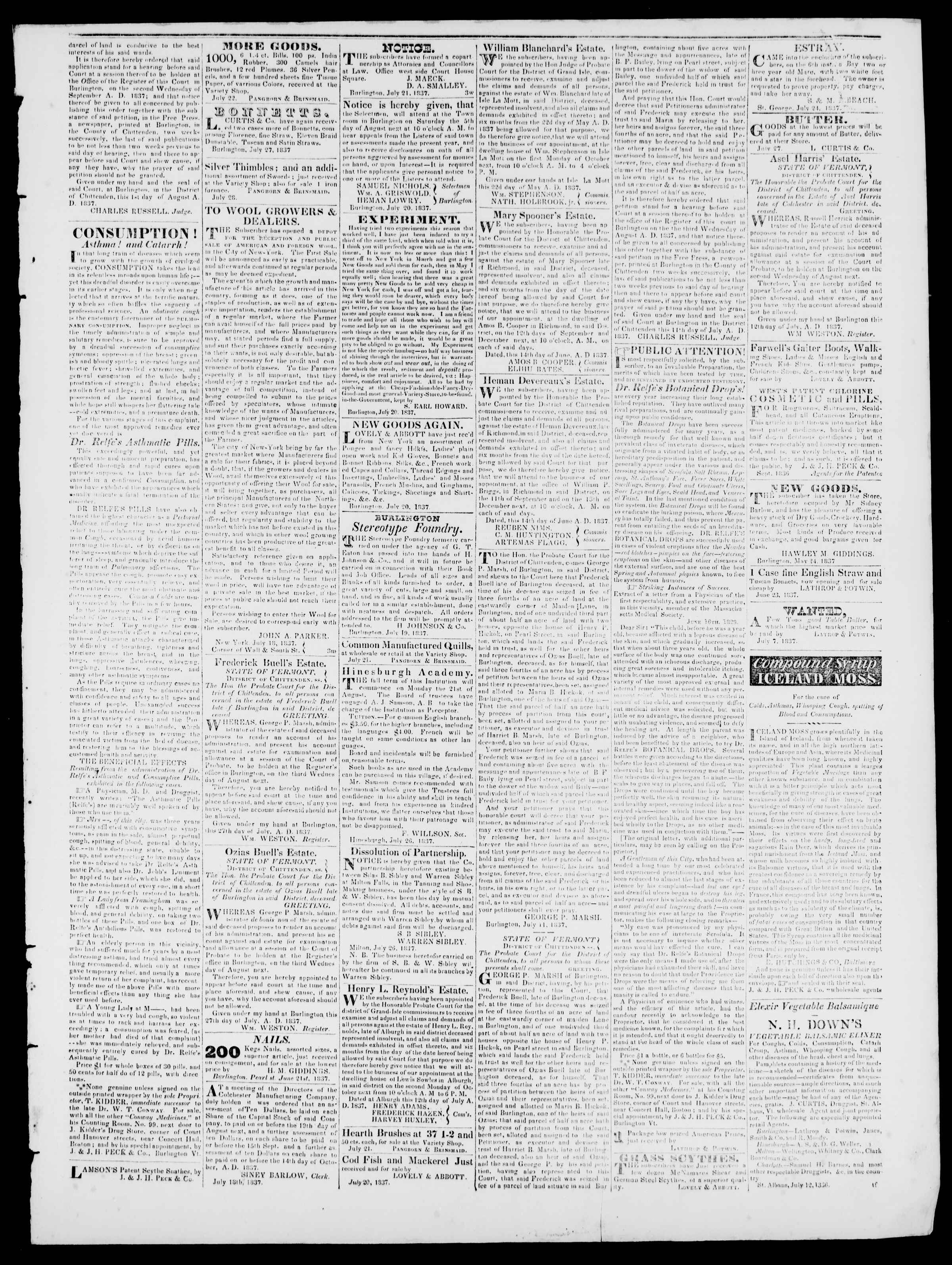 Newspaper of Burlington Free Press dated August 4, 1837 Page 3