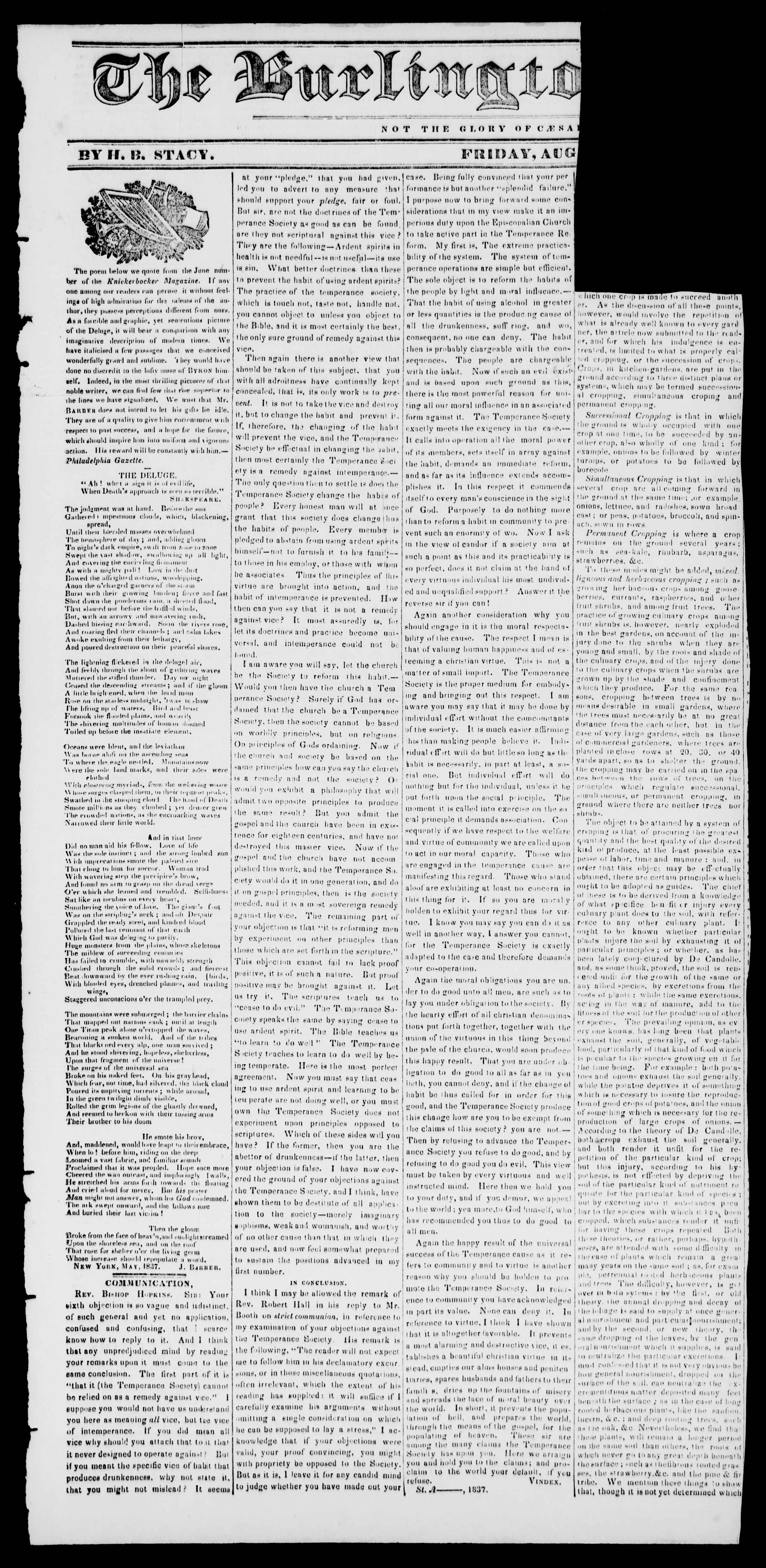 Newspaper of Burlington Free Press dated August 11, 1837 Page 1