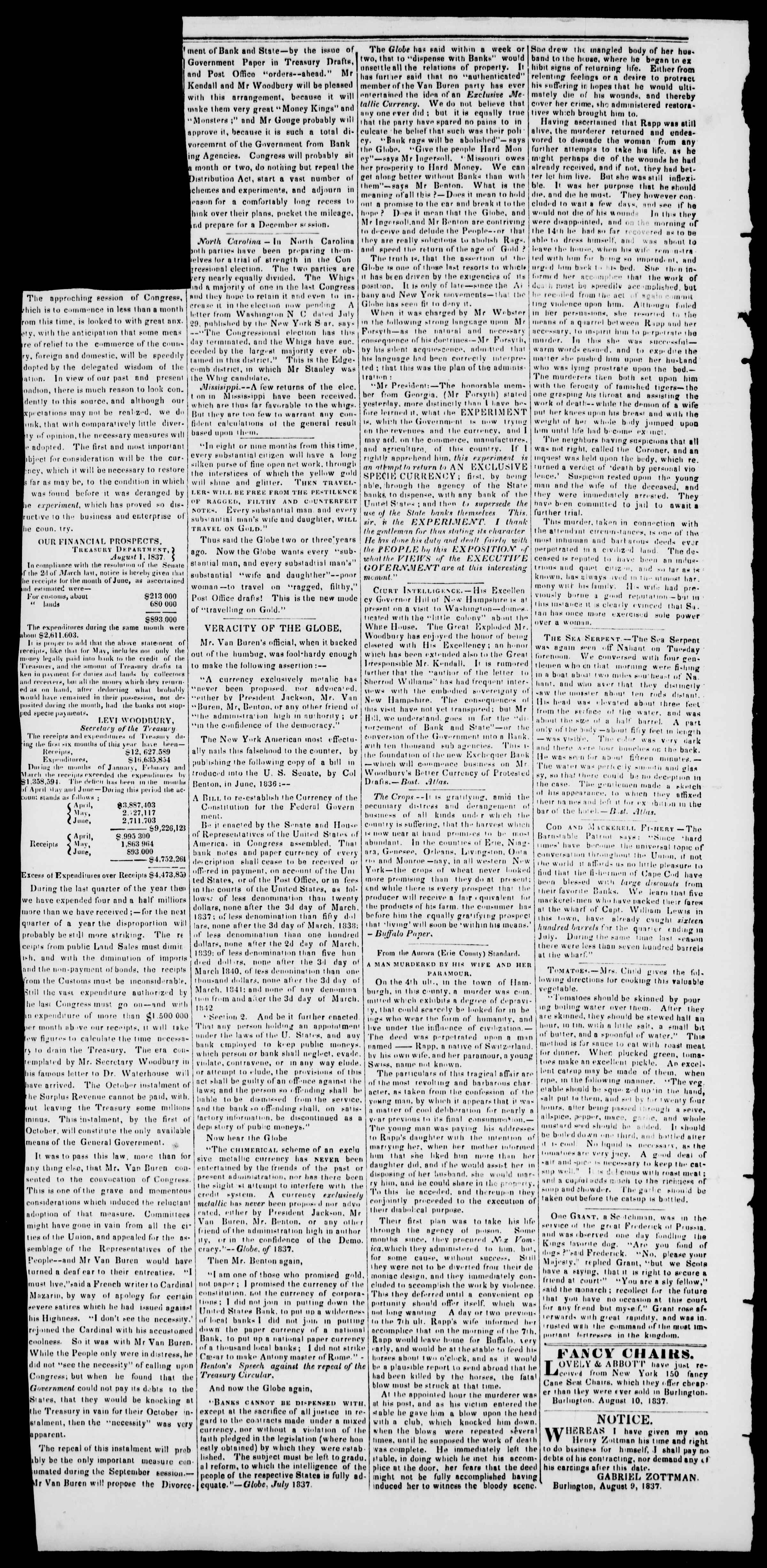 Newspaper of Burlington Free Press dated August 11, 1837 Page 2