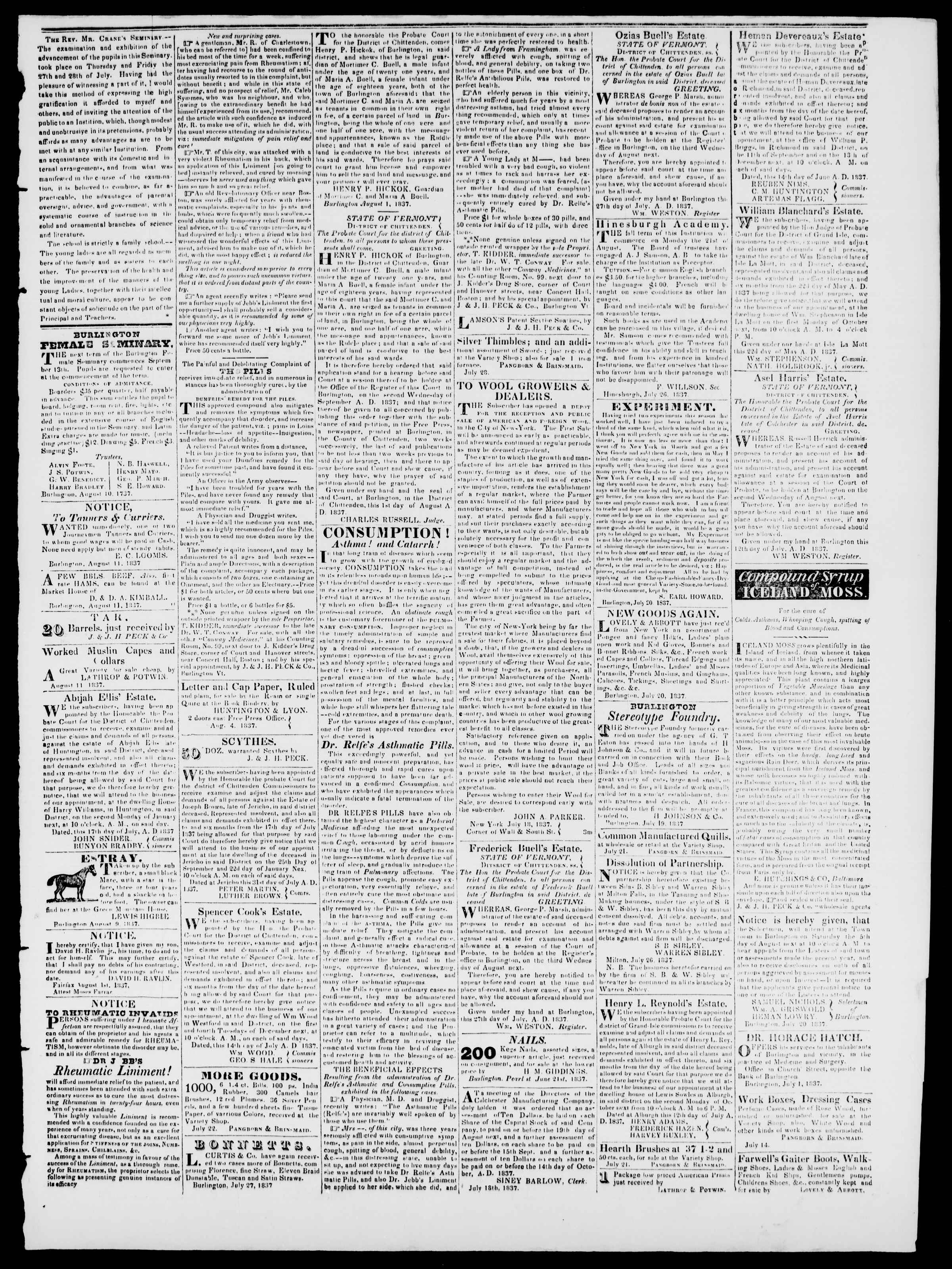 Newspaper of Burlington Free Press dated August 11, 1837 Page 3
