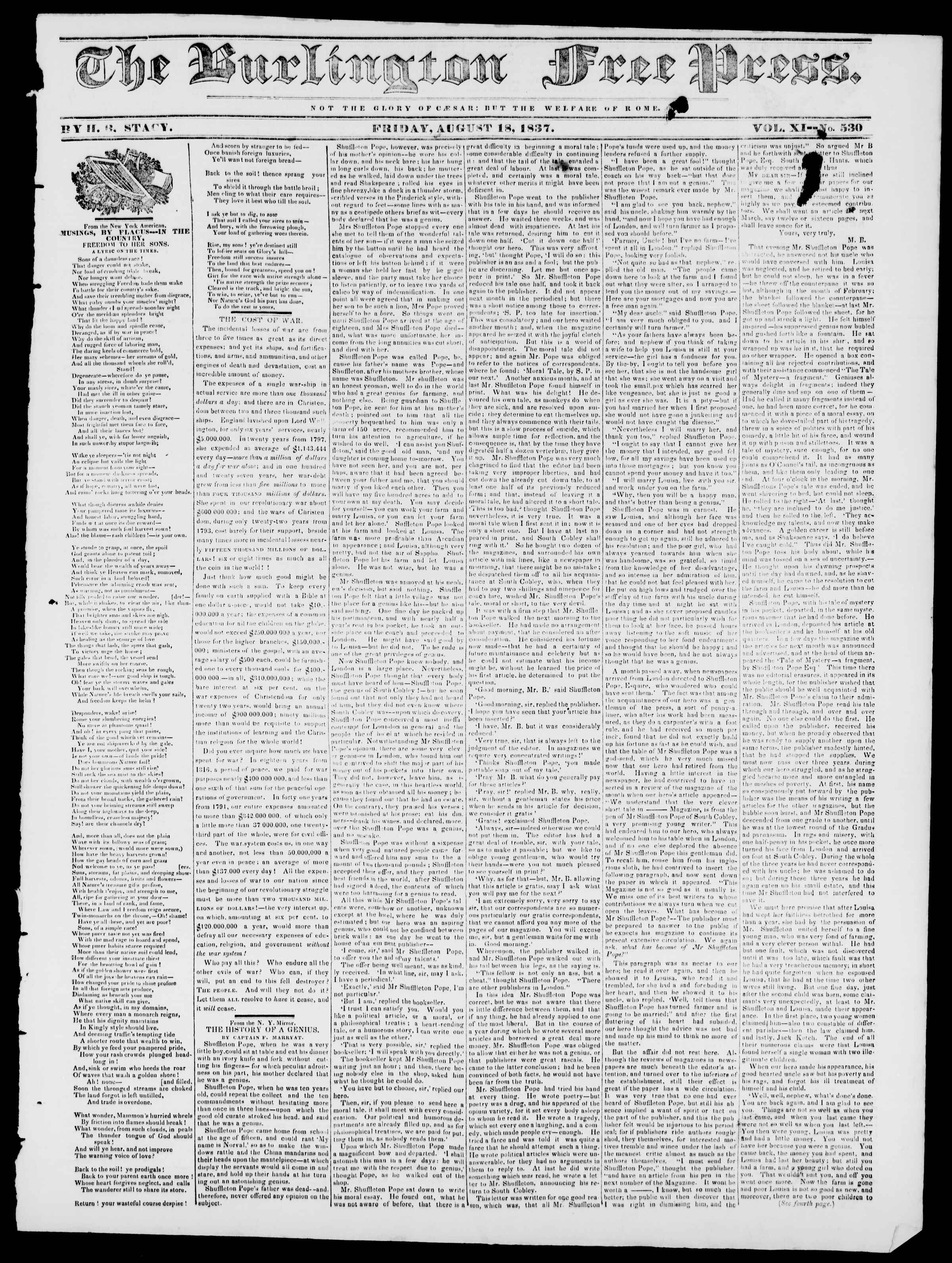 Newspaper of Burlington Free Press dated August 18, 1837 Page 1