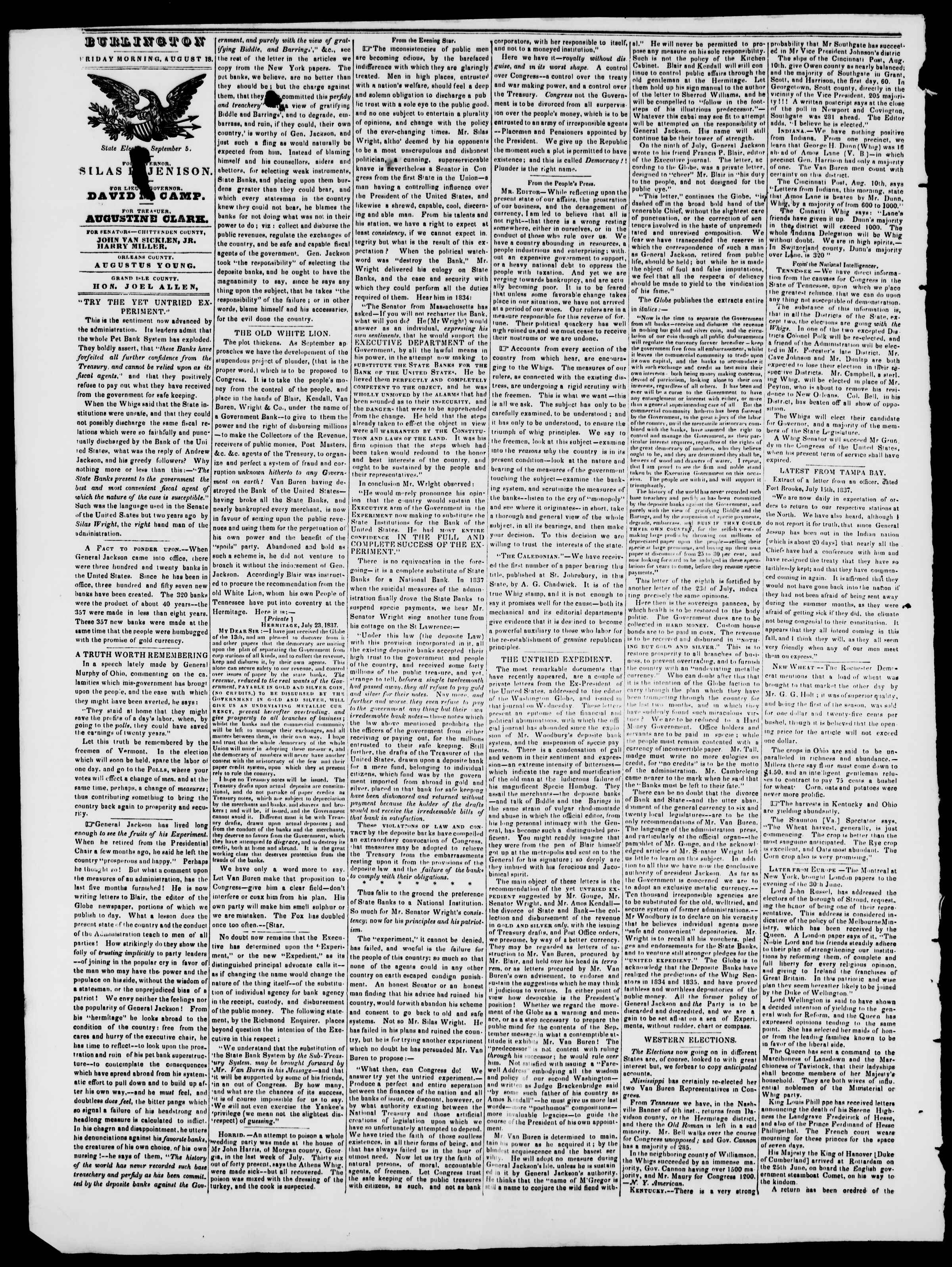 Newspaper of Burlington Free Press dated August 18, 1837 Page 2