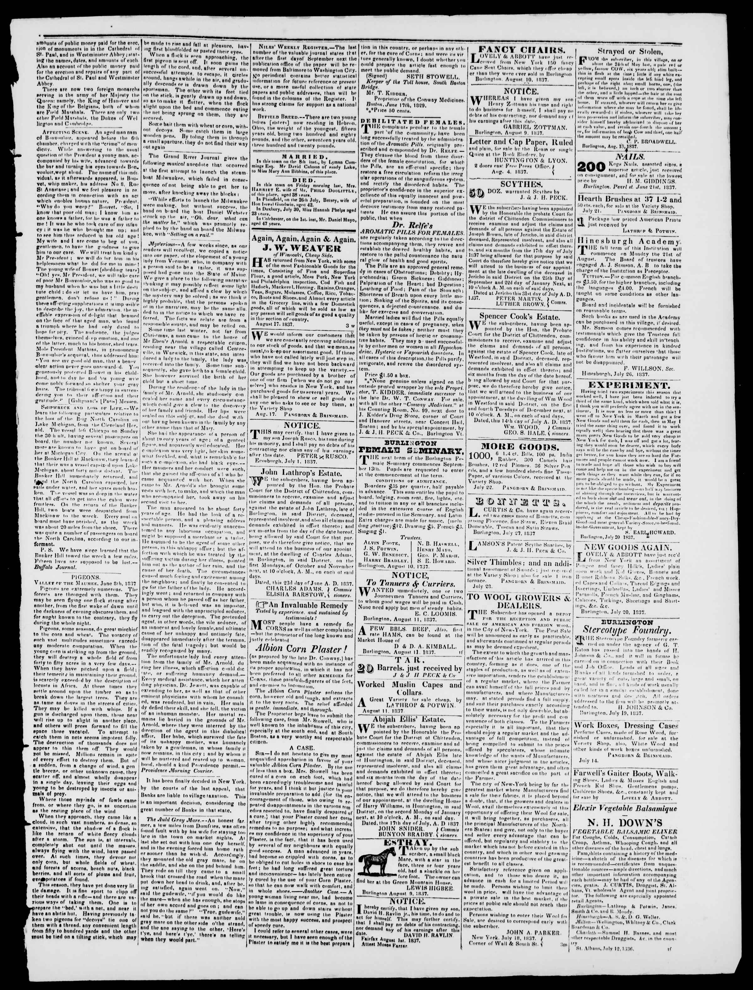 Newspaper of Burlington Free Press dated August 18, 1837 Page 3