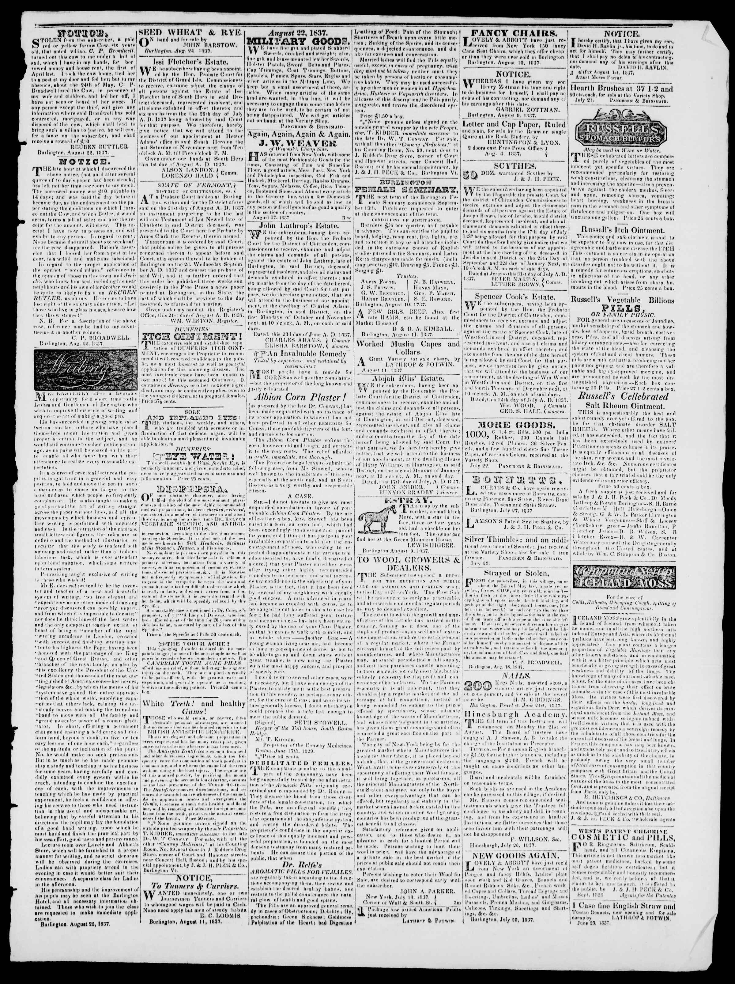 Newspaper of Burlington Free Press dated August 25, 1837 Page 3