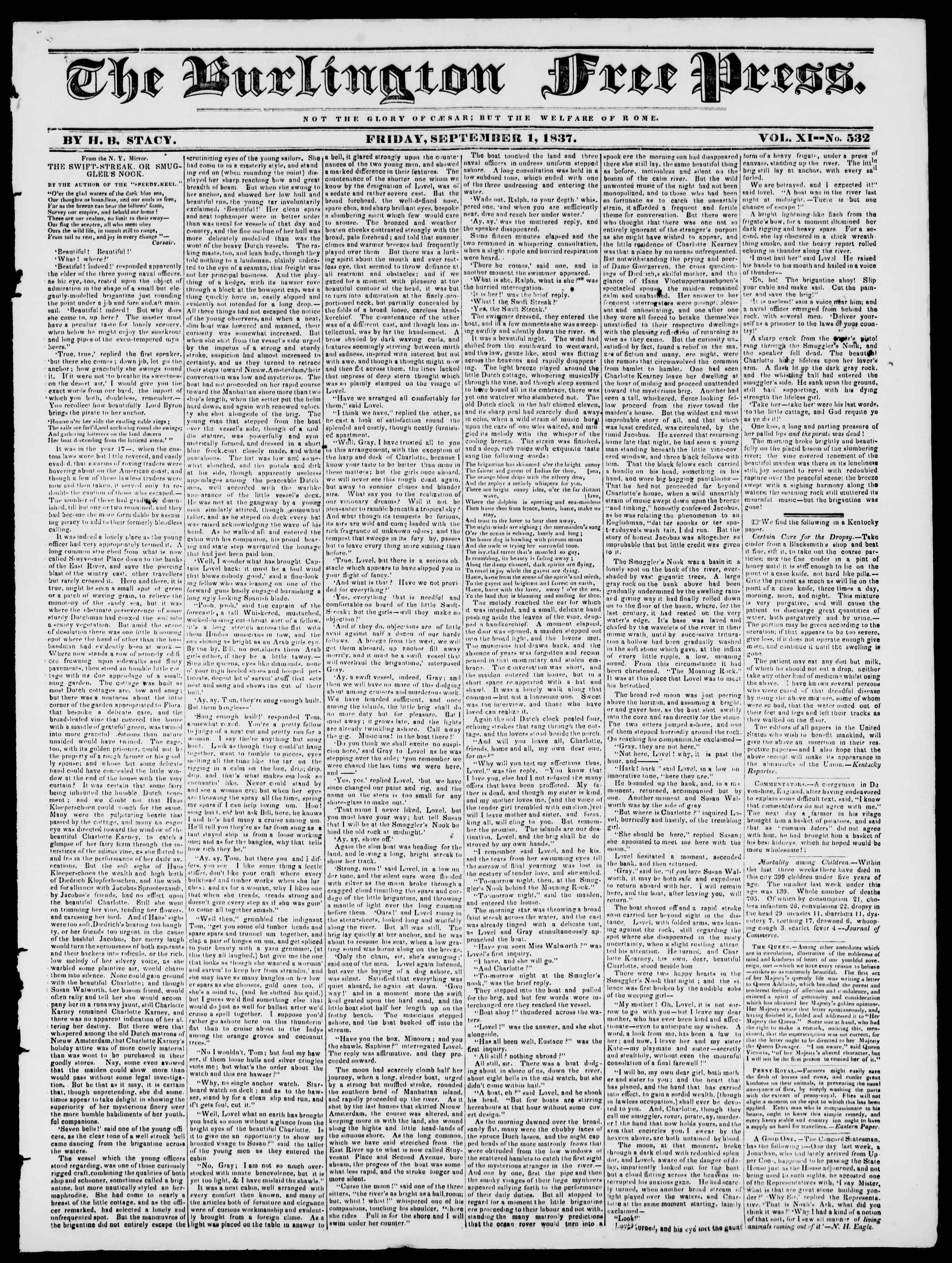 Newspaper of Burlington Free Press dated September 1, 1837 Page 1