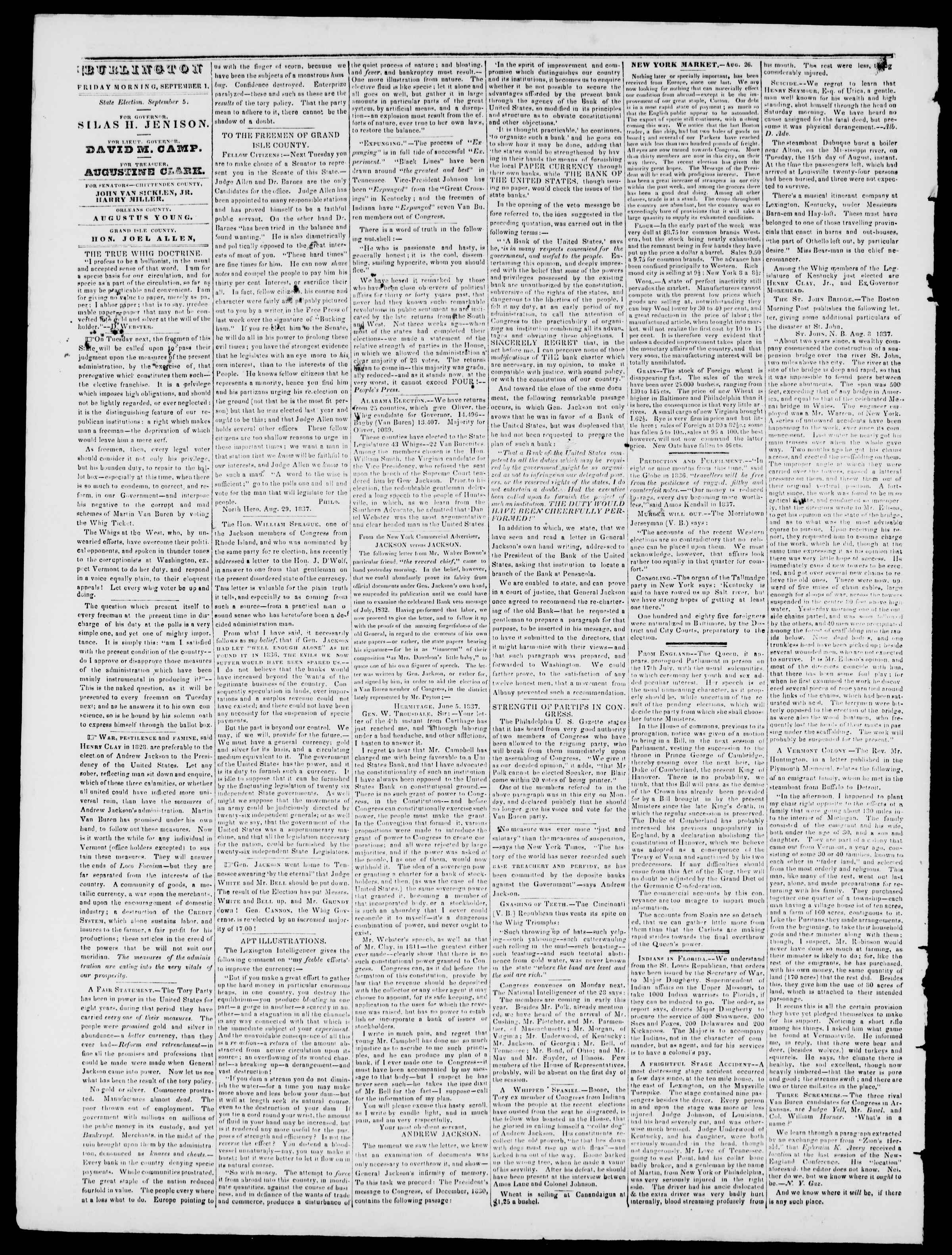 Newspaper of Burlington Free Press dated September 1, 1837 Page 2
