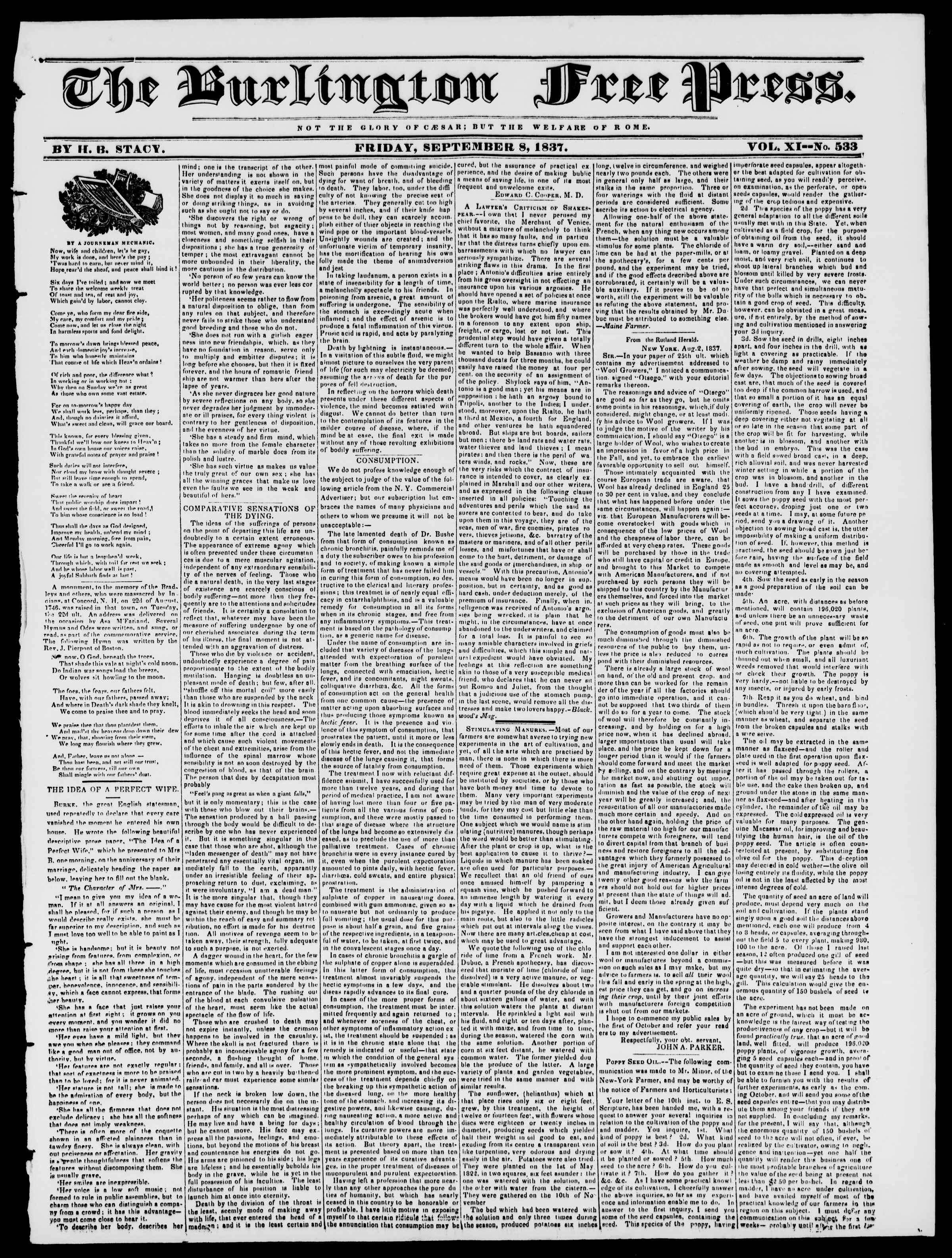 Newspaper of Burlington Free Press dated September 8, 1837 Page 1
