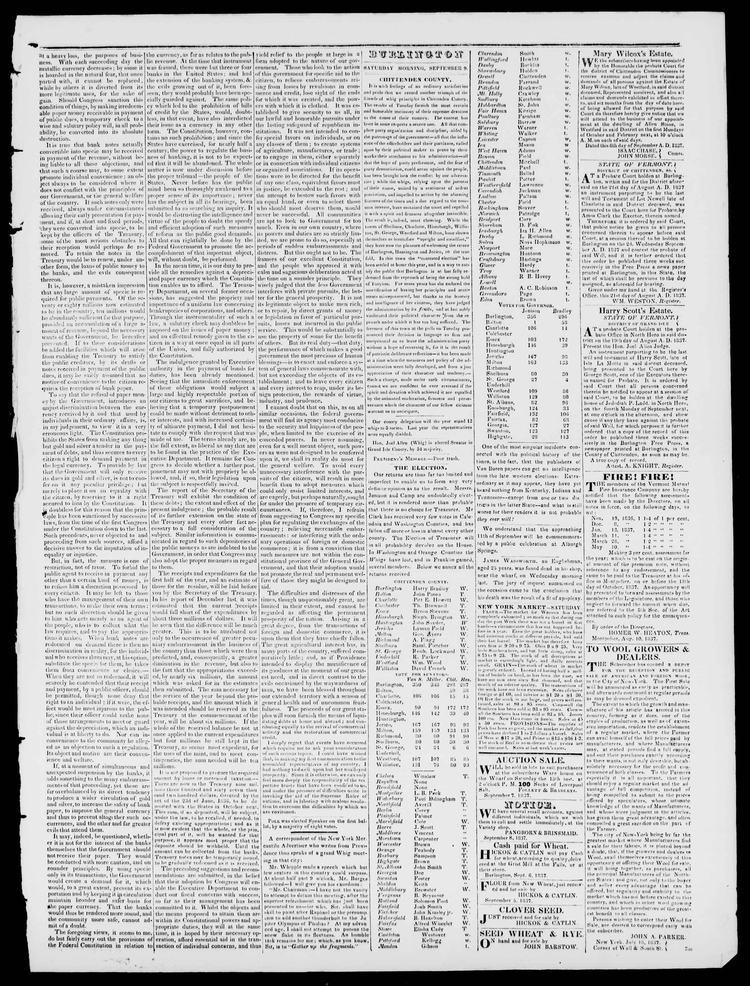 8 Eylül 1837 tarihli Burlington Free Press Gazetesi Sayfa 3