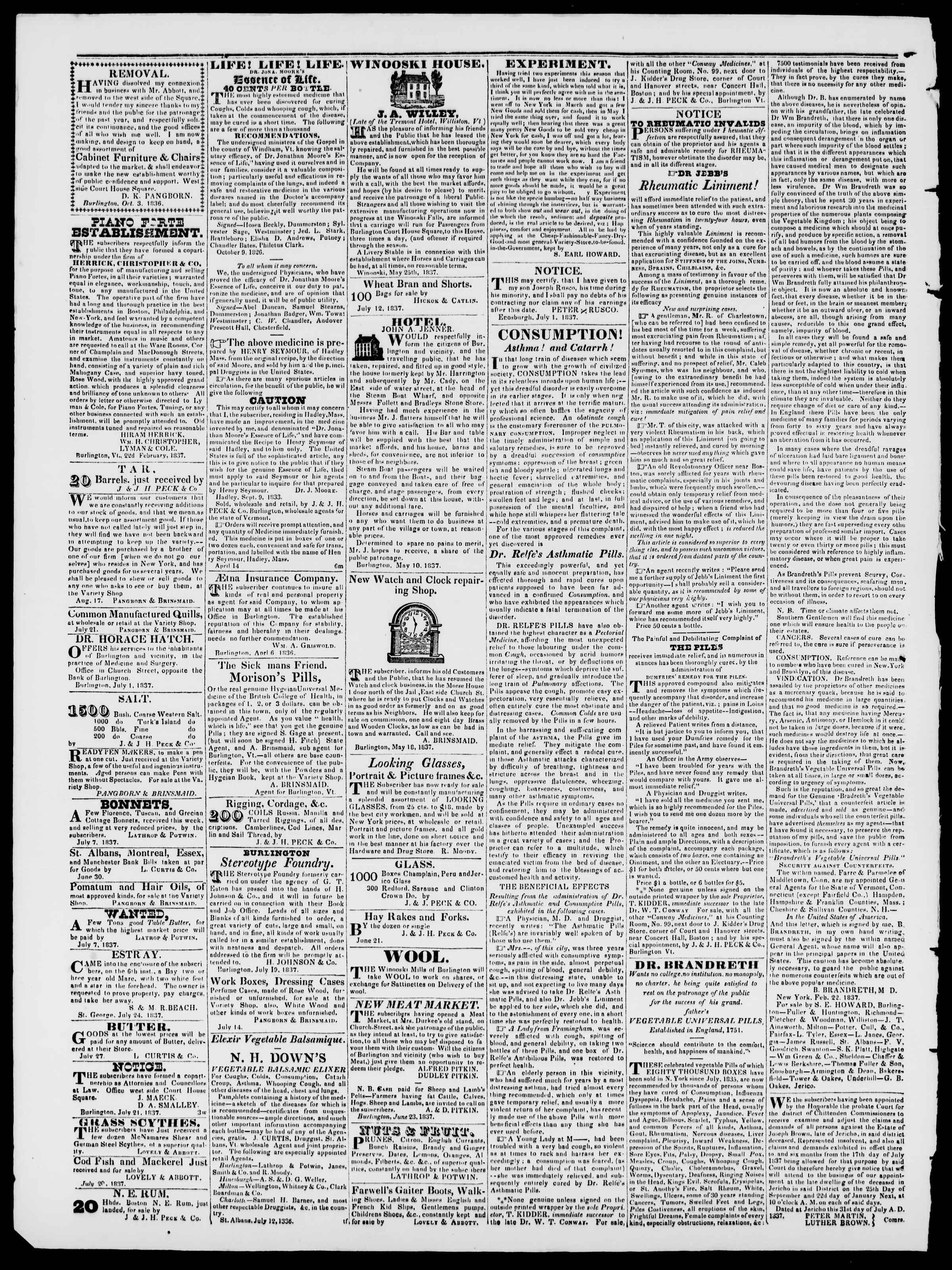 Newspaper of Burlington Free Press dated September 8, 1837 Page 4