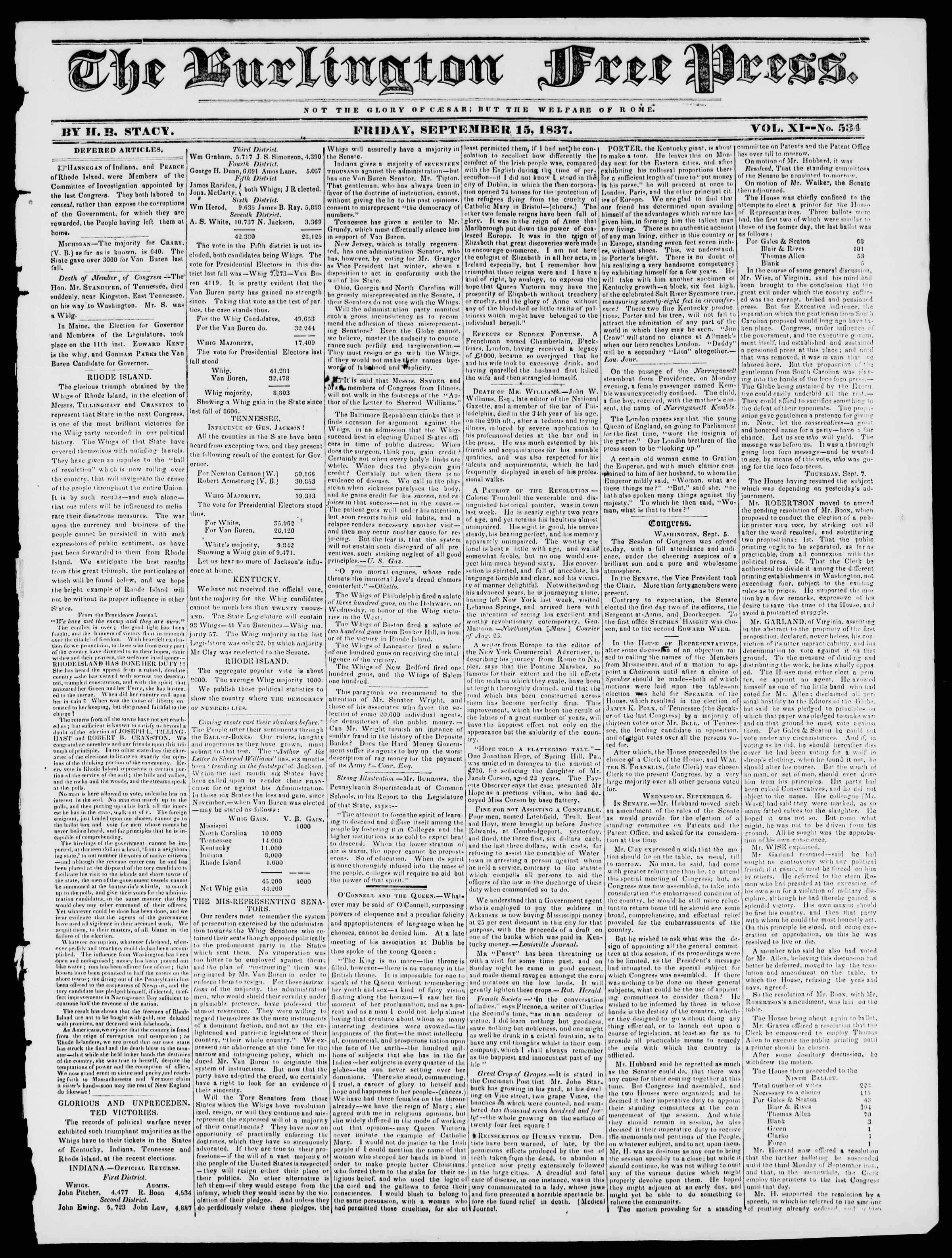 Newspaper of Burlington Free Press dated September 15, 1837 Page 1