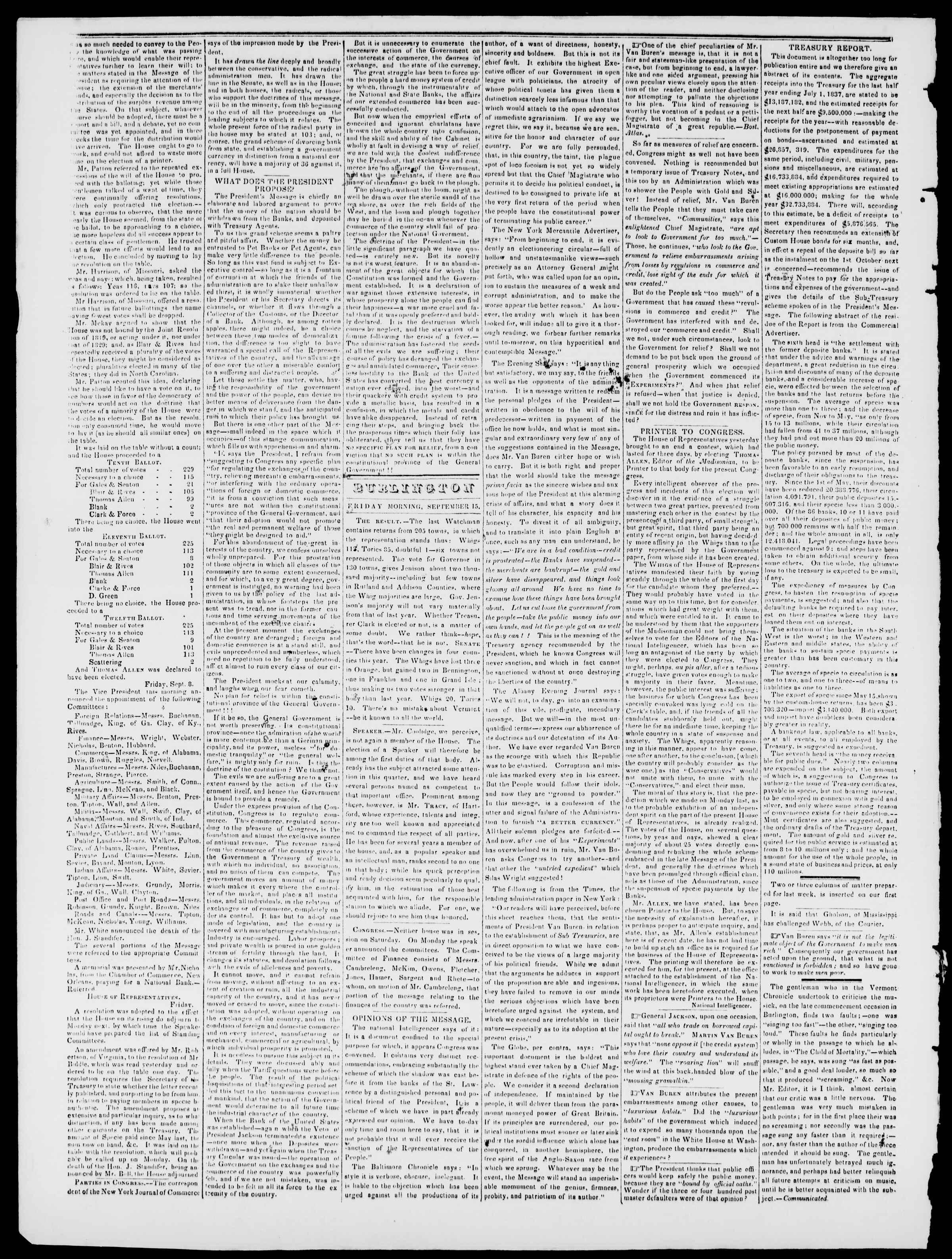 Newspaper of Burlington Free Press dated September 15, 1837 Page 2