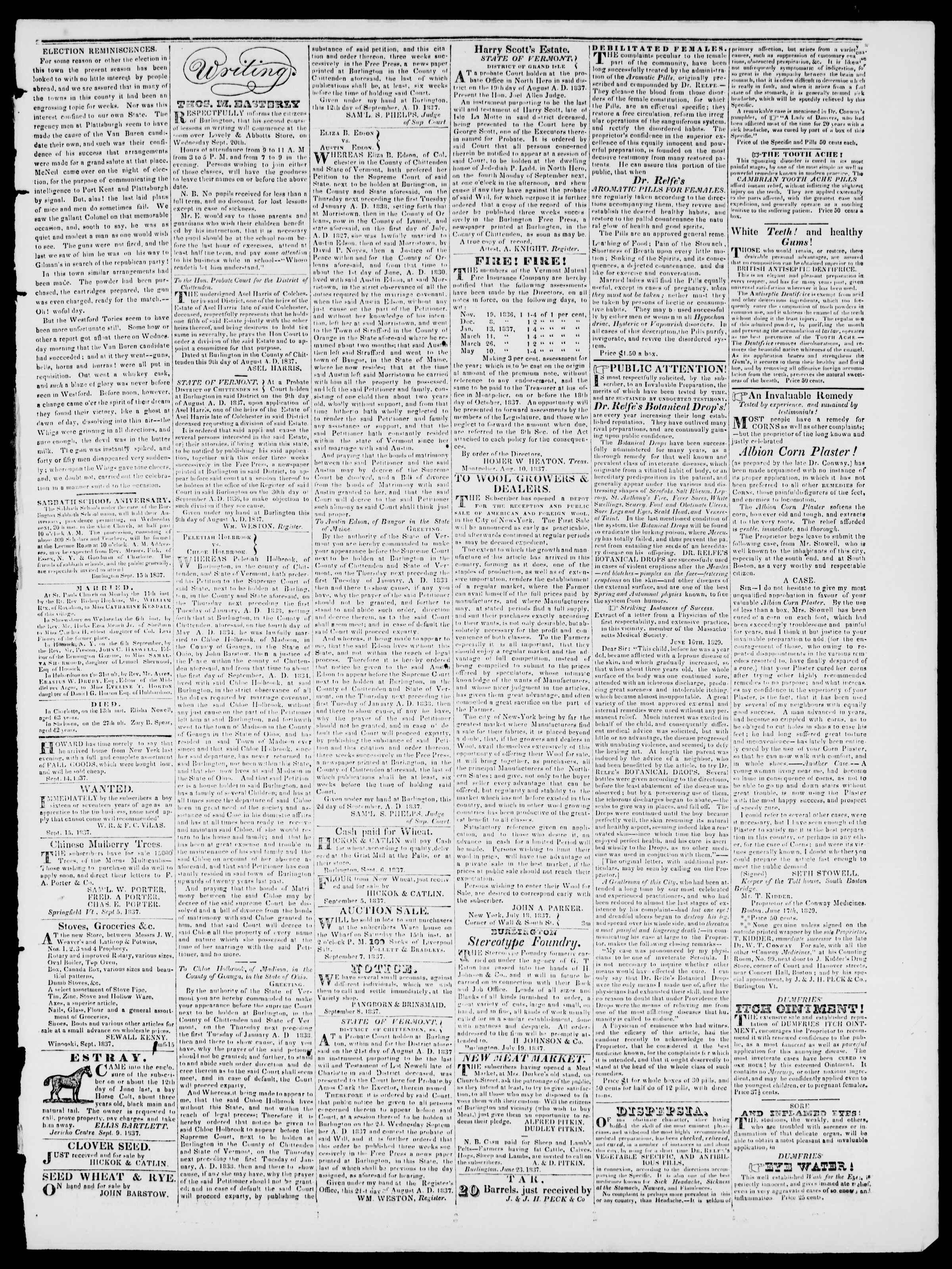 Newspaper of Burlington Free Press dated September 15, 1837 Page 3
