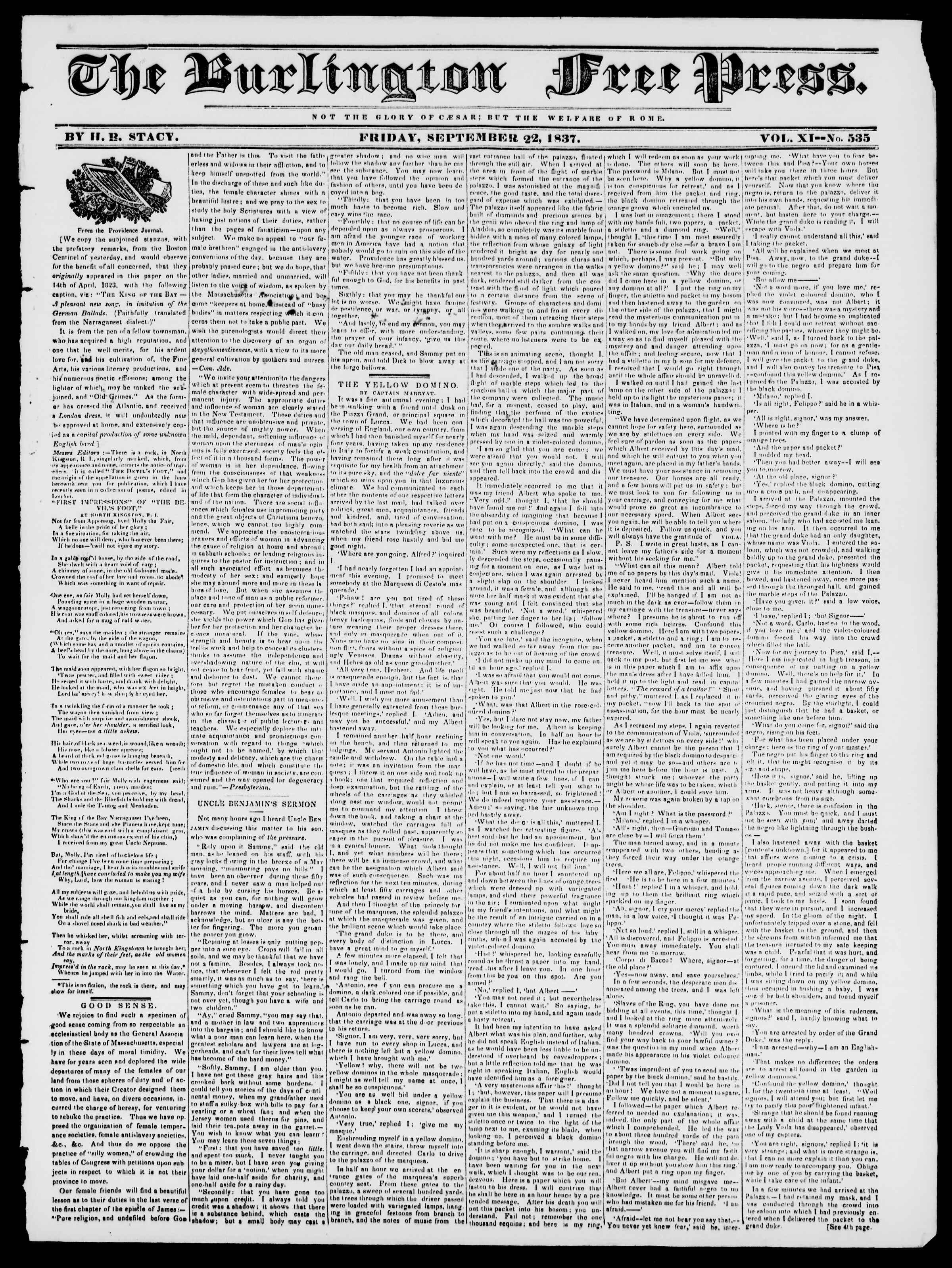 Newspaper of Burlington Free Press dated September 22, 1837 Page 1