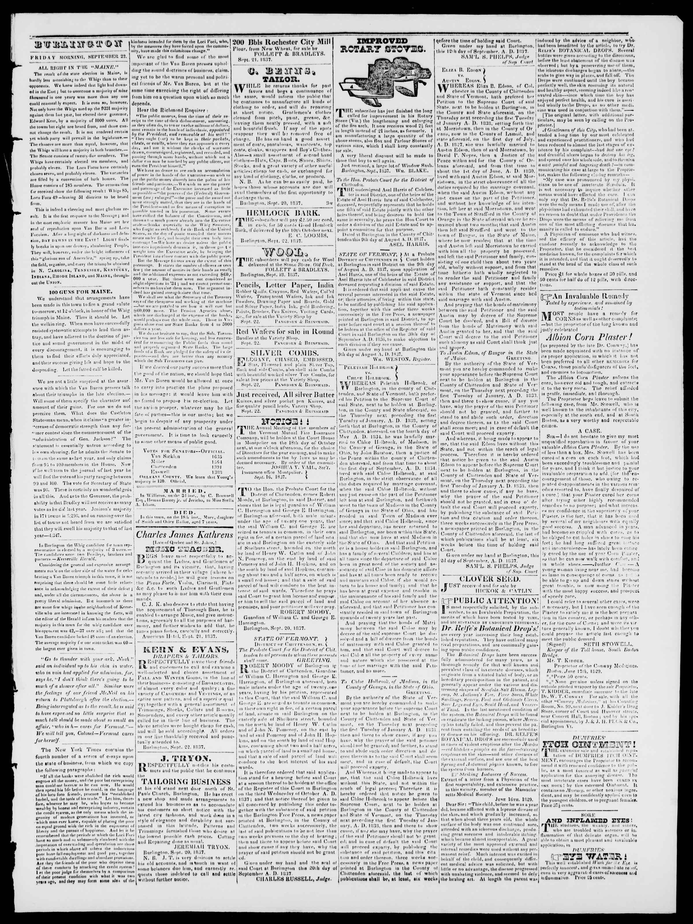 Newspaper of Burlington Free Press dated September 22, 1837 Page 3